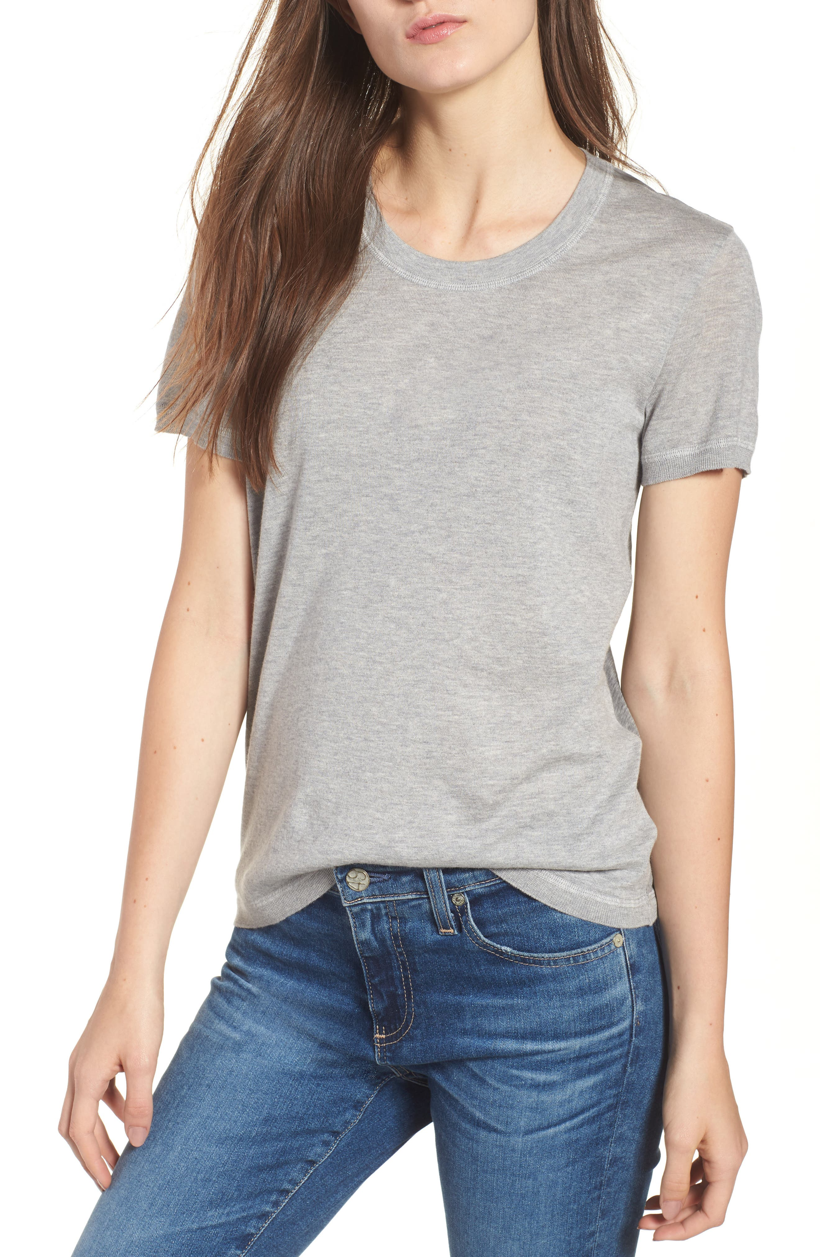 Cotton & Cashmere Tee,                             Main thumbnail 1, color,                             Heather Grey