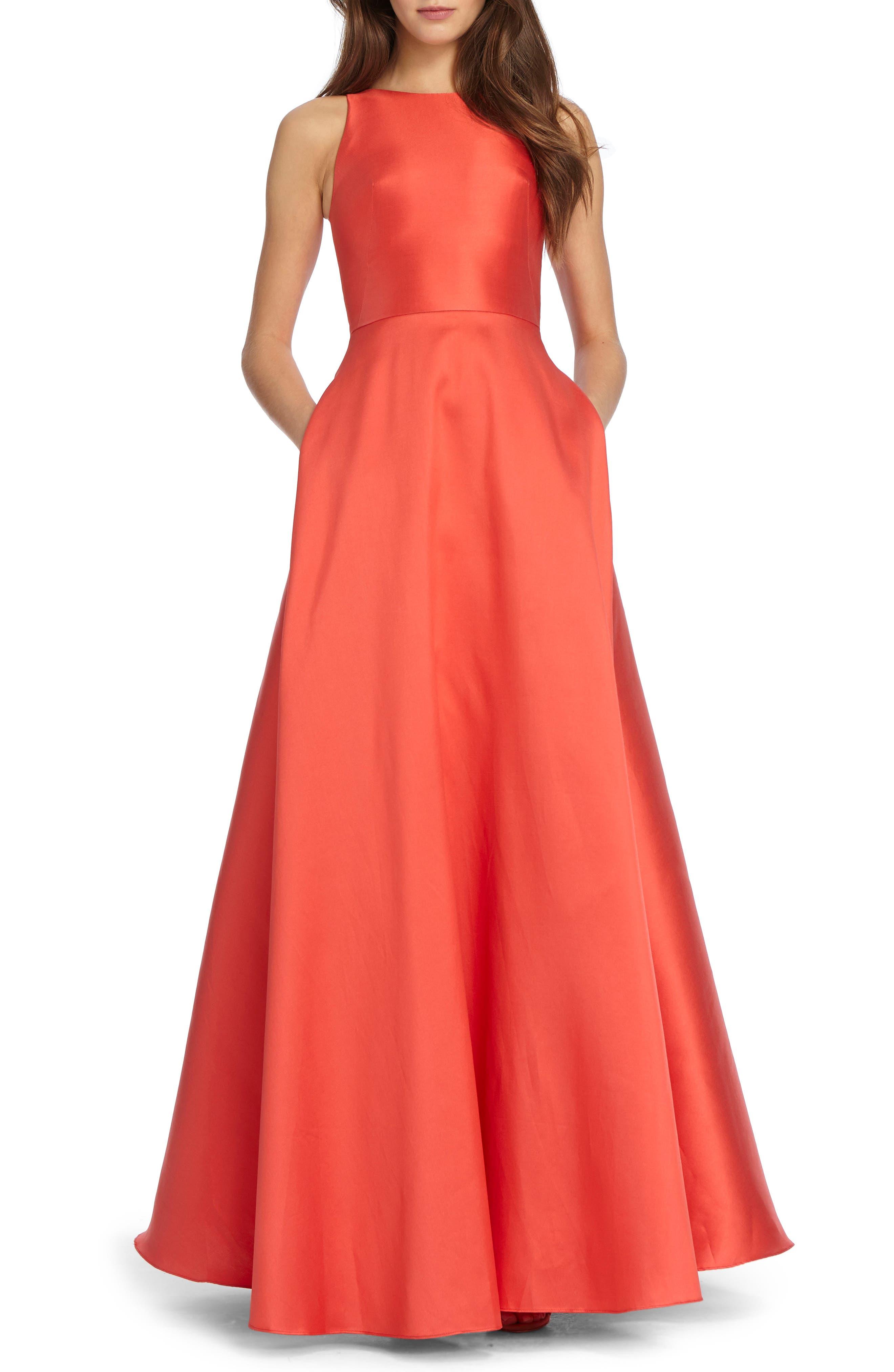 ML Monique Lhuiller Sleeveless Ballgown,                         Main,                         color, Rio Red