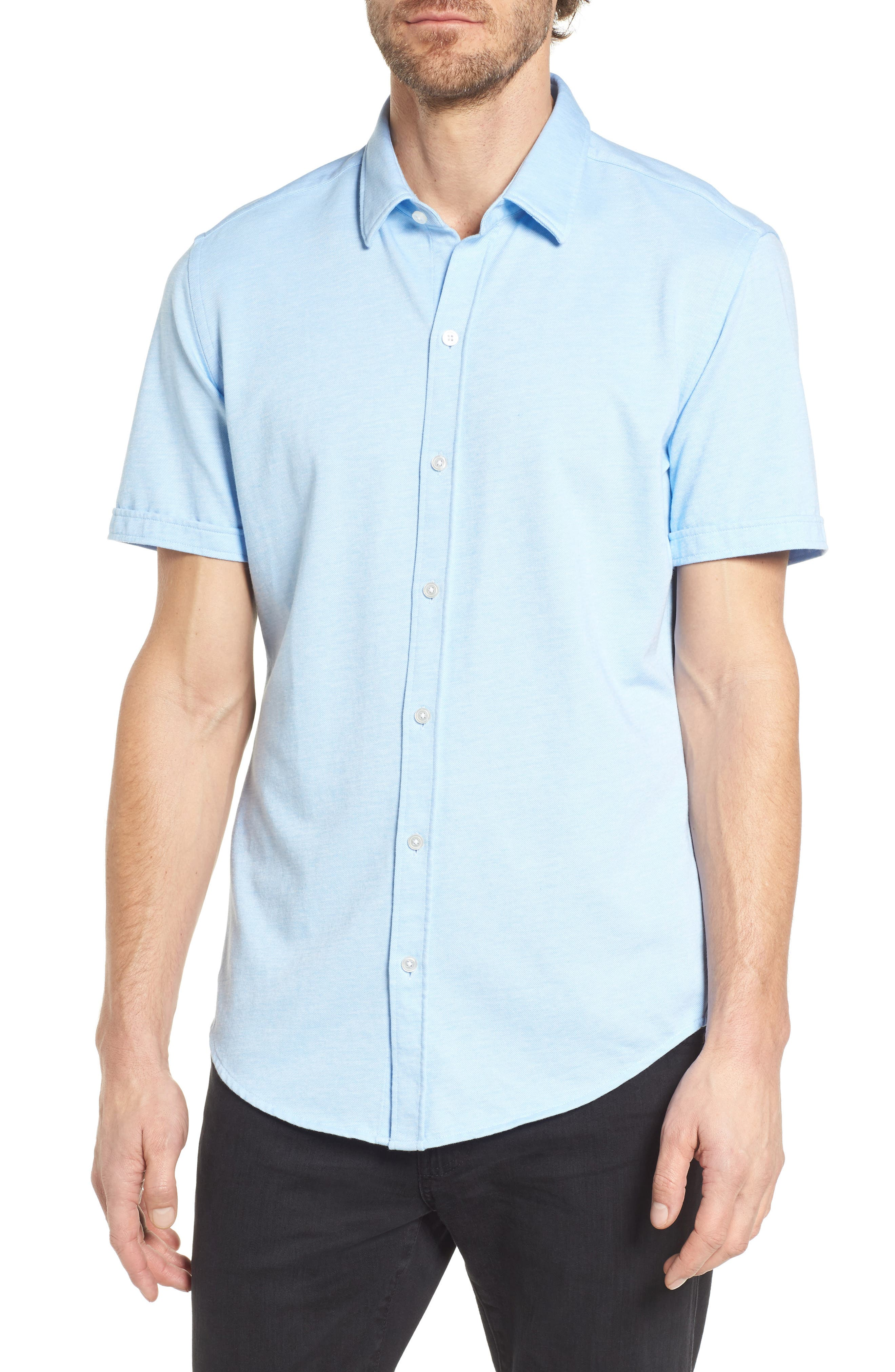 Robb Slim Fit Short Sleeve Sport Shirt,                         Main,                         color, Light Blue