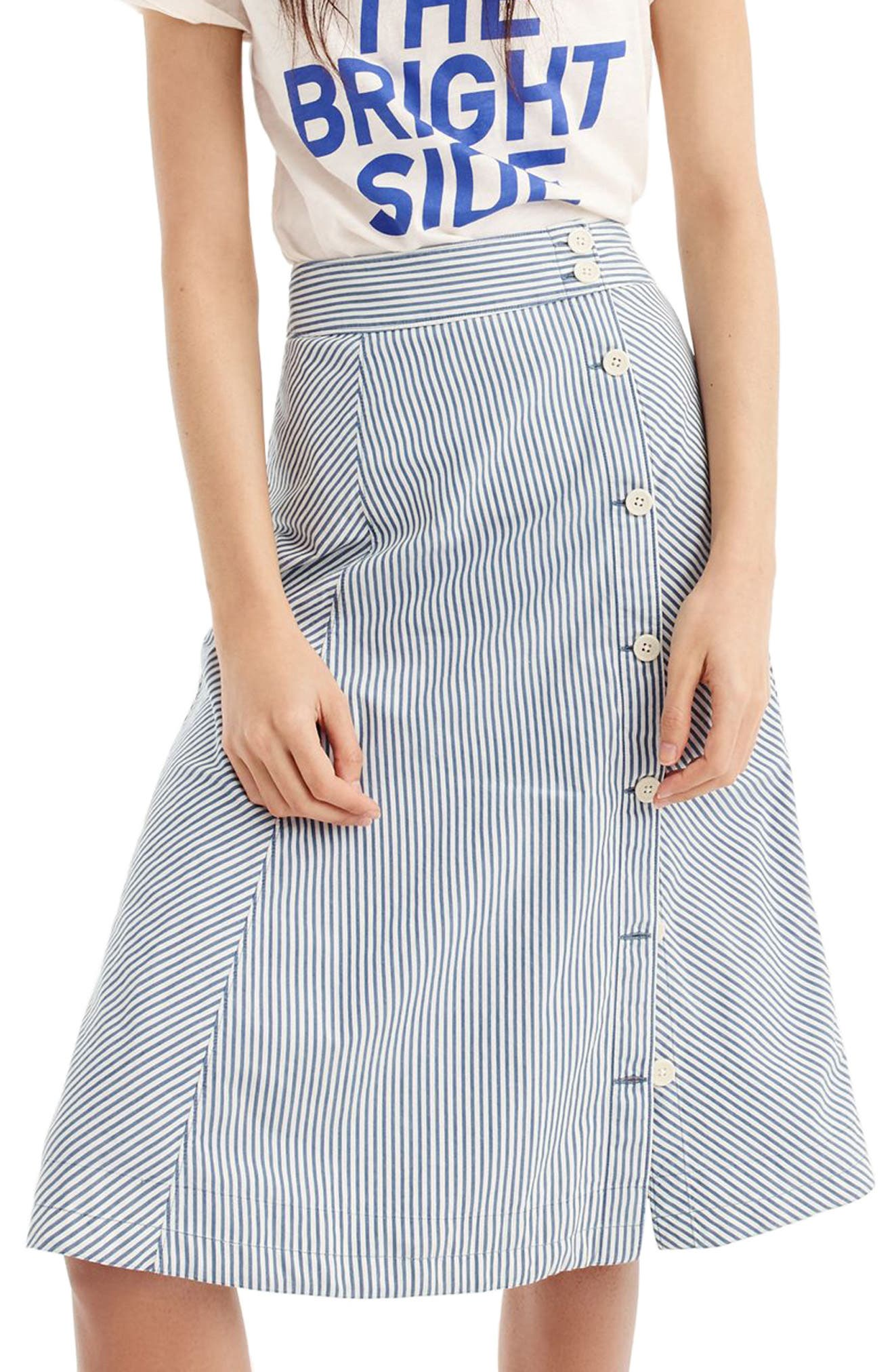 J.Crew Side Button Stripe Skirt,                         Main,                         color, Denim Side Button Skirt Stripe