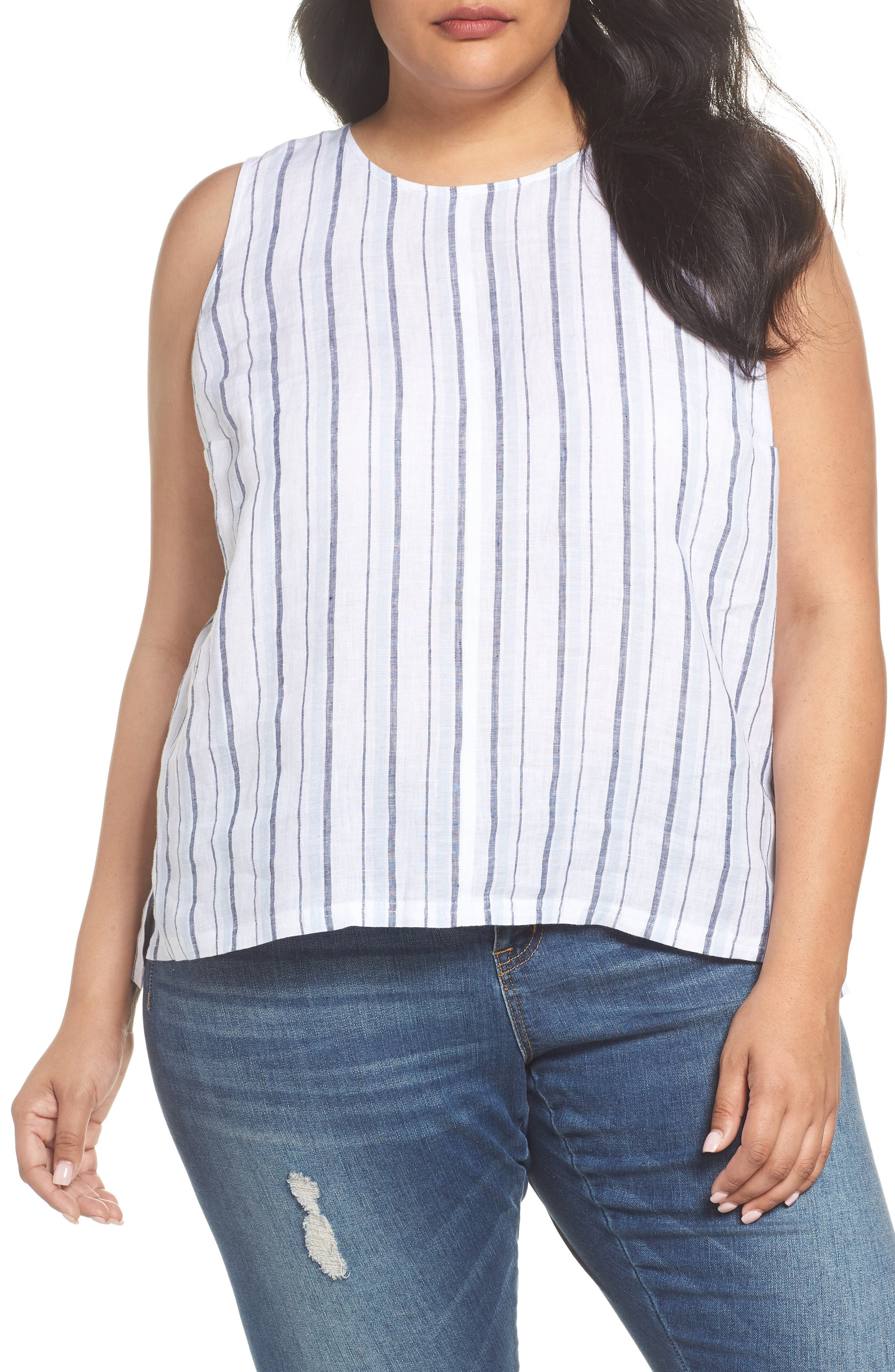 Stripe Lace-Up Back Linen Top,                         Main,                         color, Dew Blue