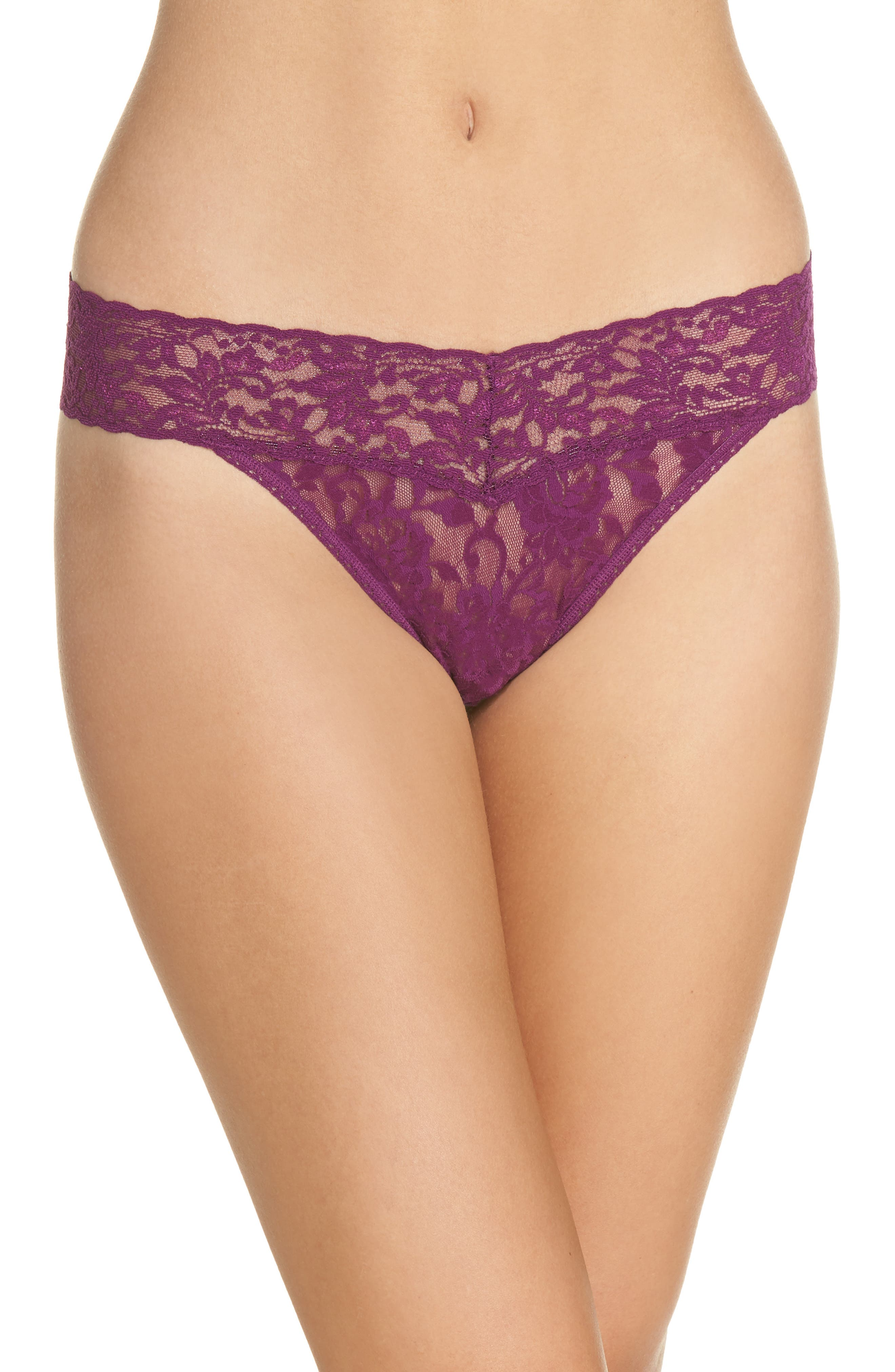 Regular Rise Lace Thong, Main, color, Fine Wine