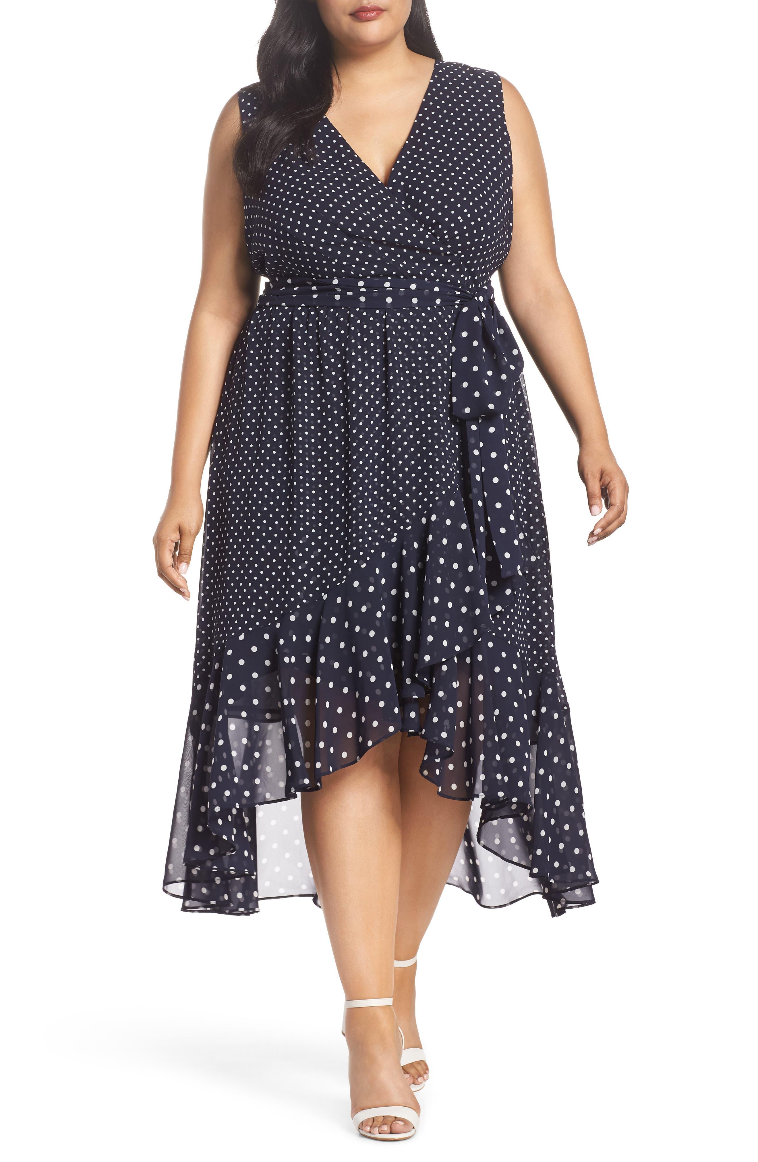 Polka Dot High/Low Hem Dress,                             Main thumbnail 1, color,                             Navy/ Ivory