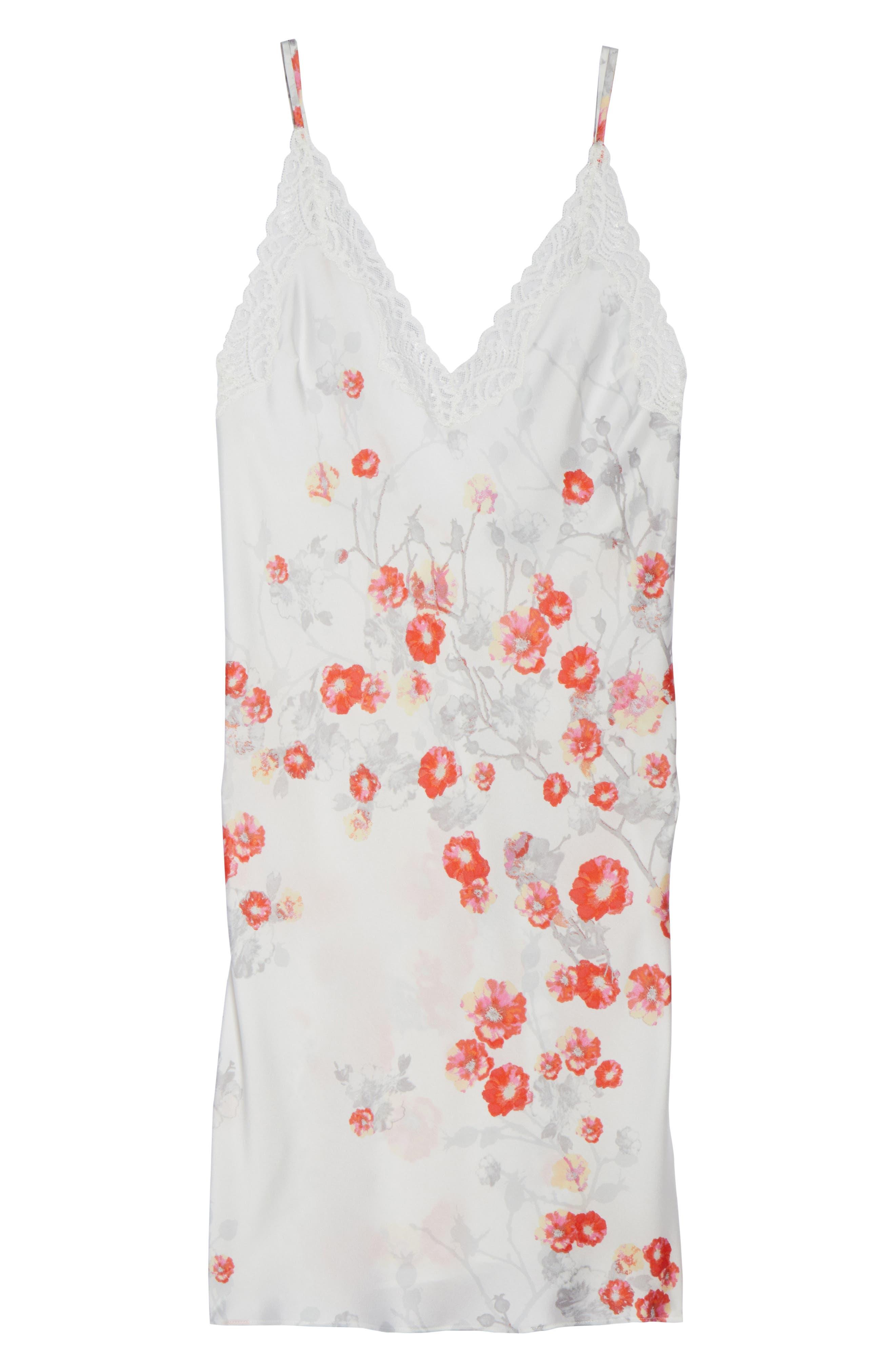 Blossom Print Satin Chemise,                             Alternate thumbnail 4, color,                             White/ Multi
