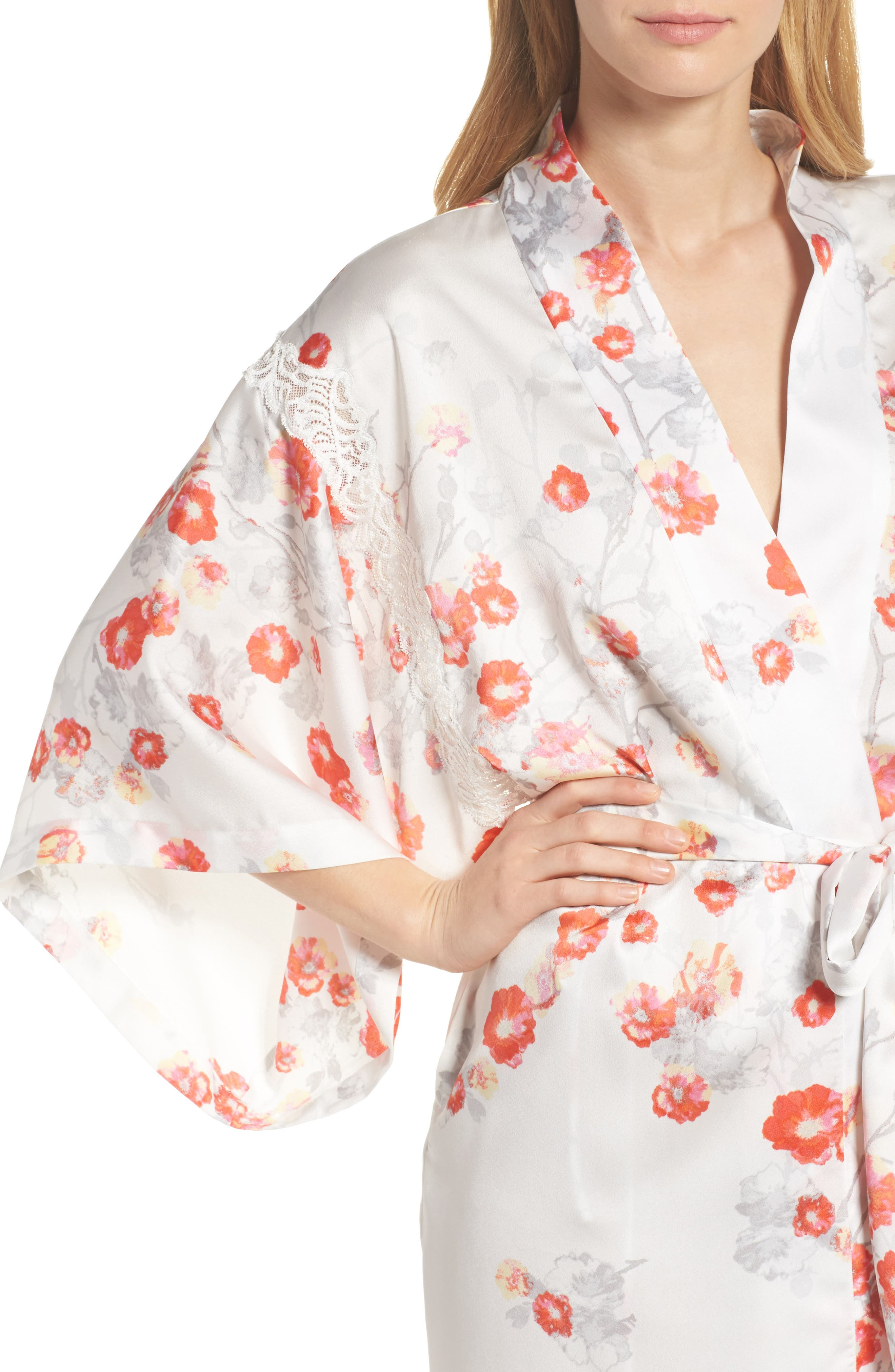 Blossom Print Wrap,                             Alternate thumbnail 4, color,                             White/ Multi