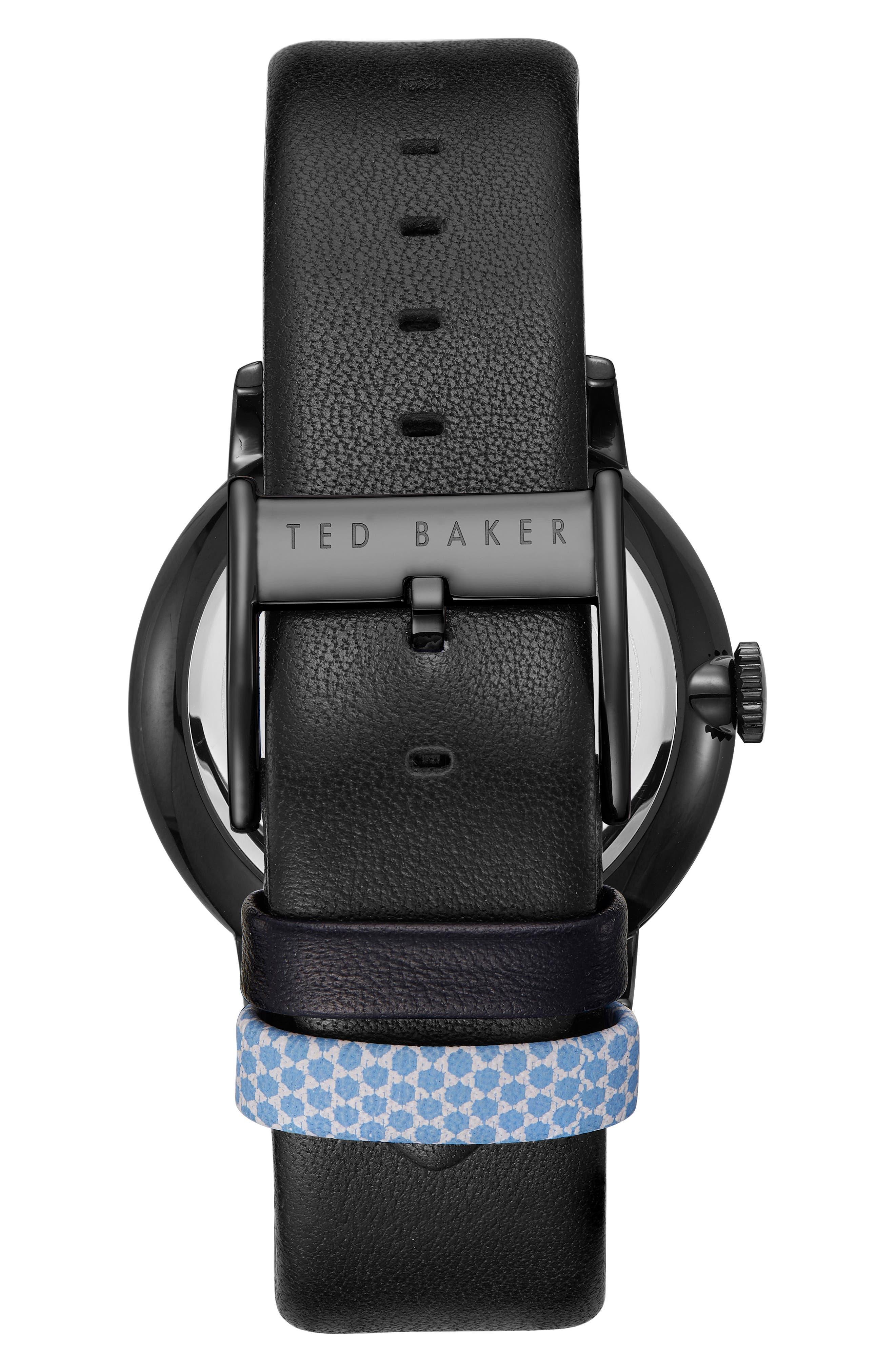 James Leather Strap Watch, 43mm,                             Alternate thumbnail 2, color,                             Blue/ Black