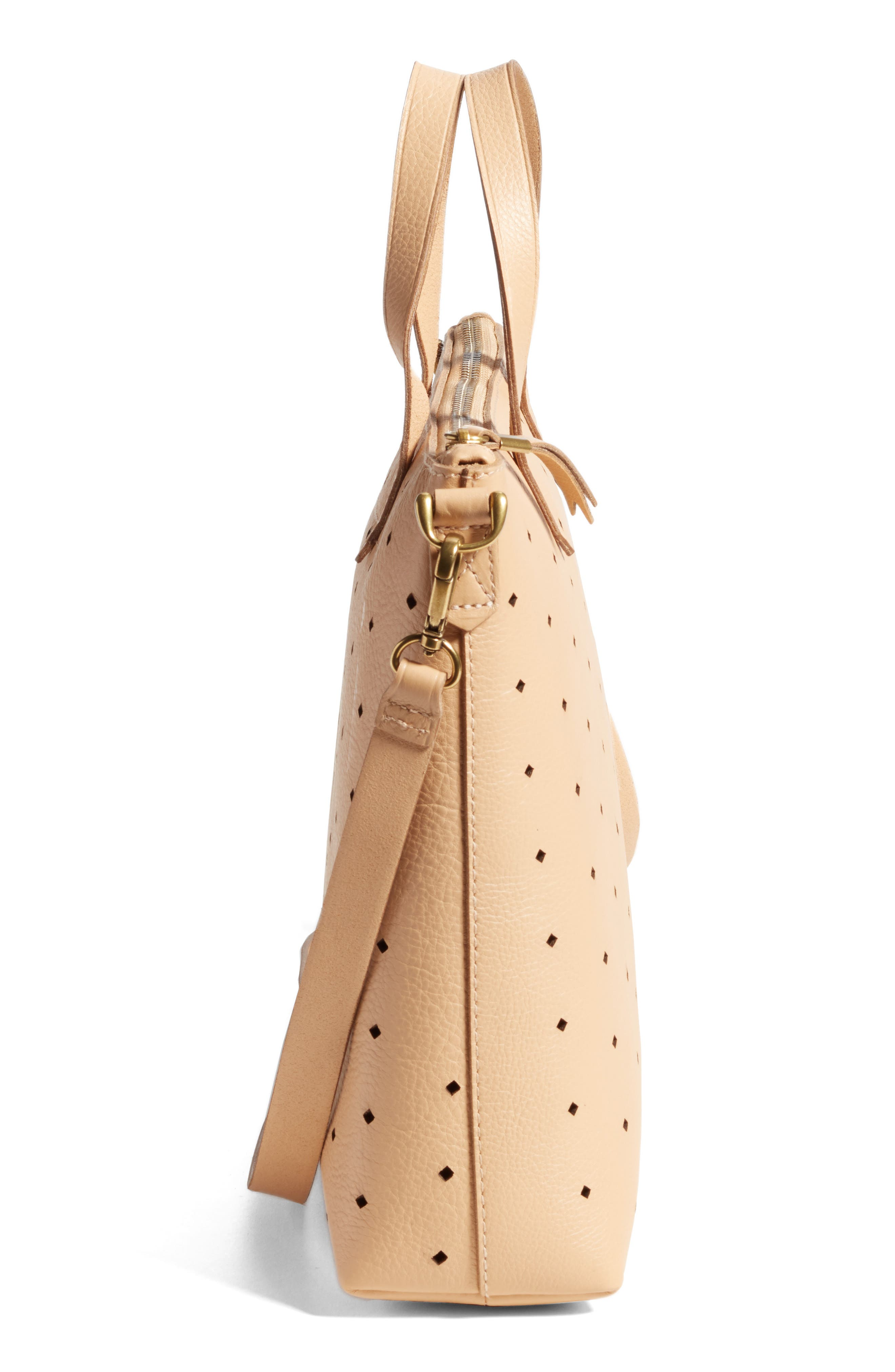 Mini Transport Perforated Leather Crossbody Bag,                             Alternate thumbnail 5, color,                             Linen