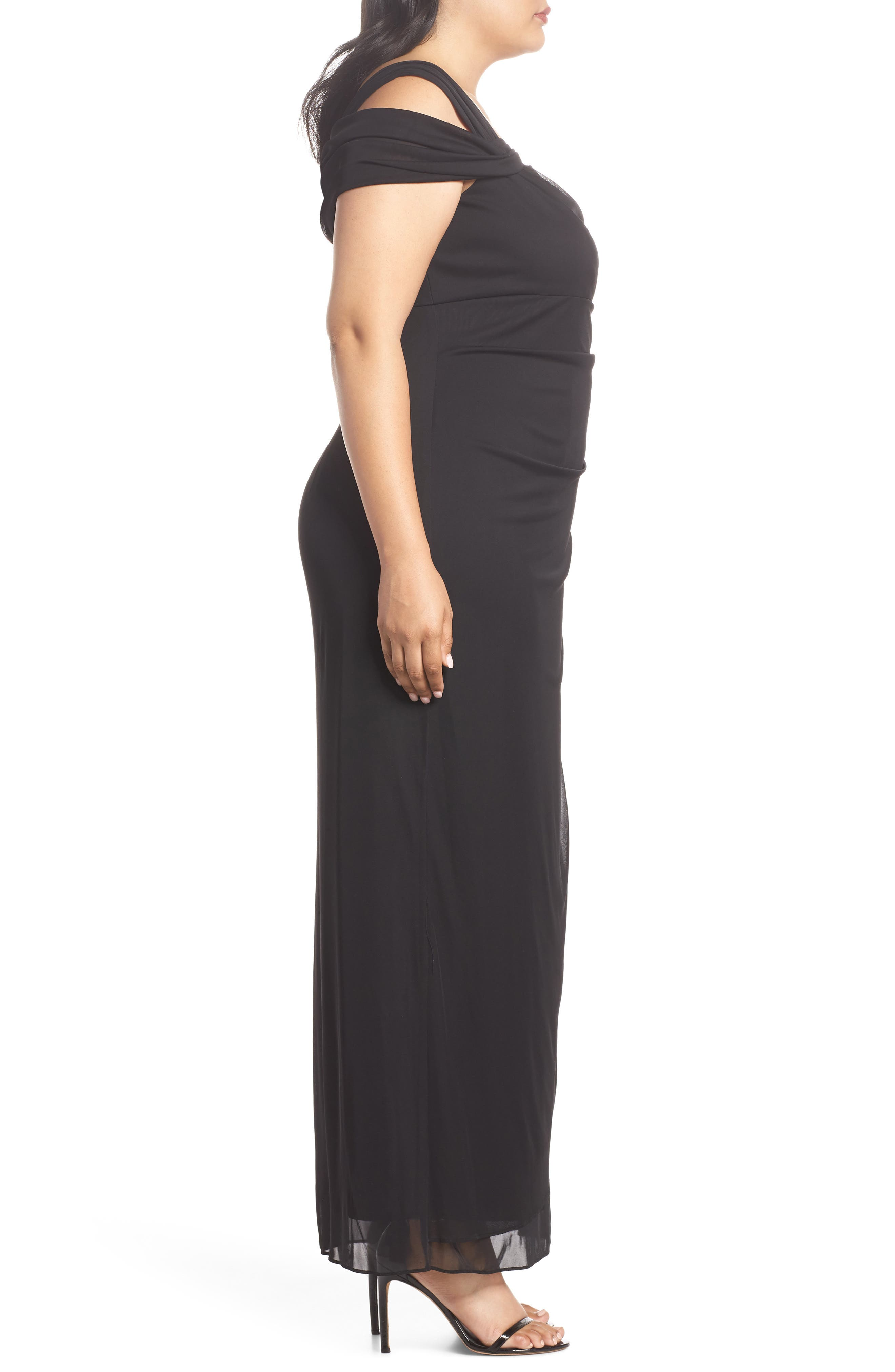 Cold Shoulder Mesh Gown,                             Alternate thumbnail 3, color,                             Black