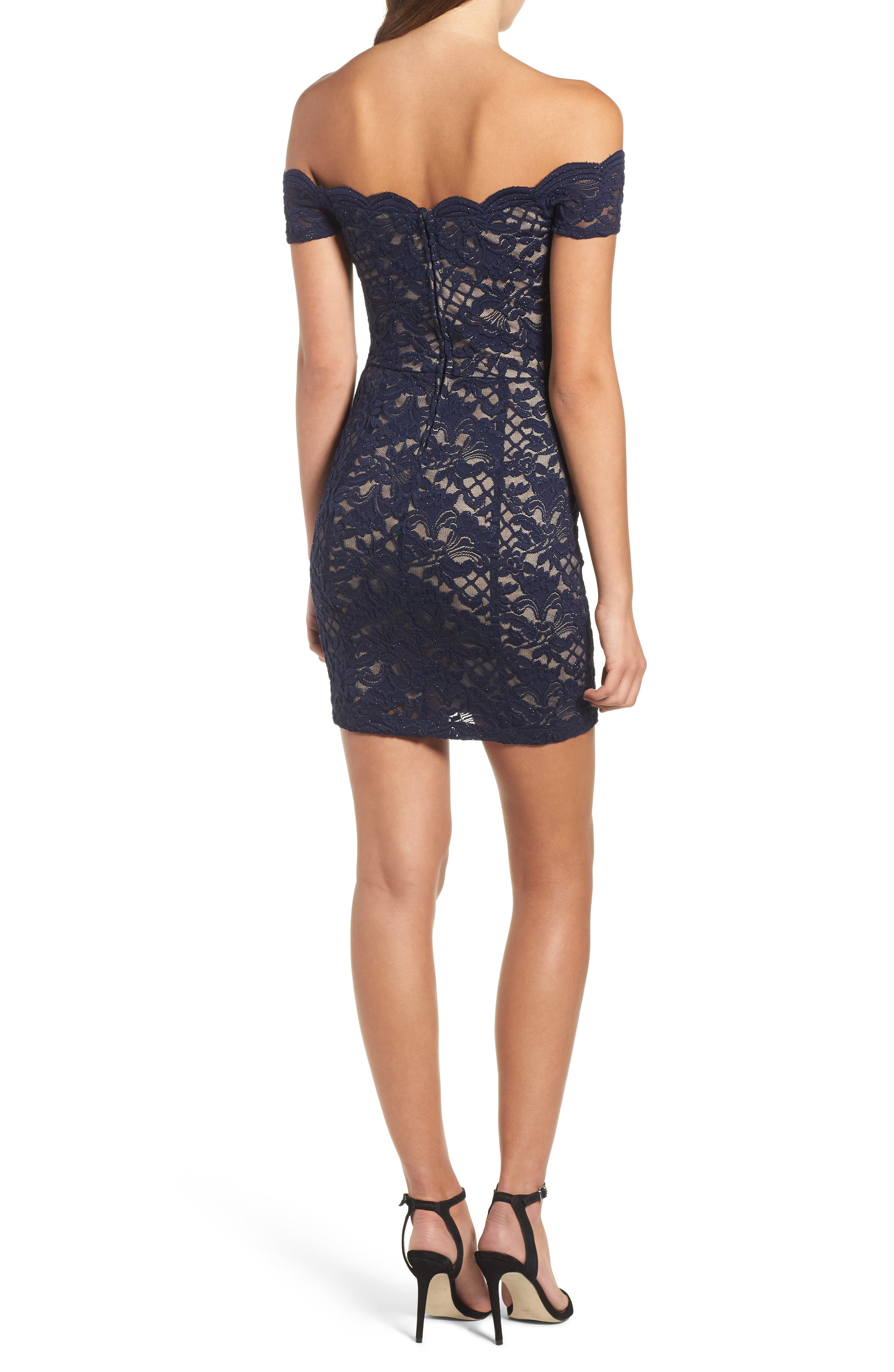 Lace Off the Shoulder Body-Con Dress,                             Alternate thumbnail 2, color,                             Navy/ Taupe