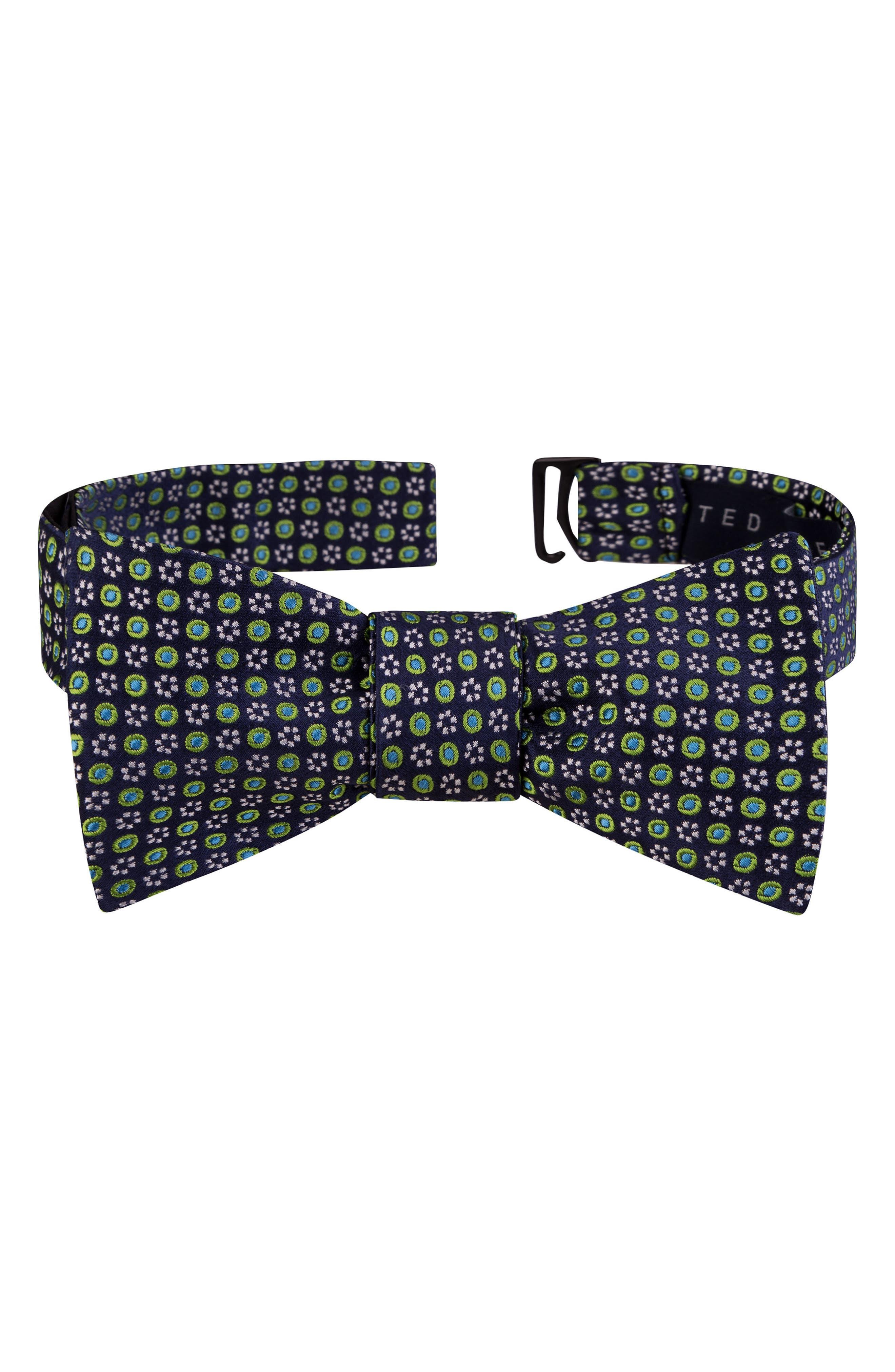 Grid Silk Bow Tie,                         Main,                         color, Navy