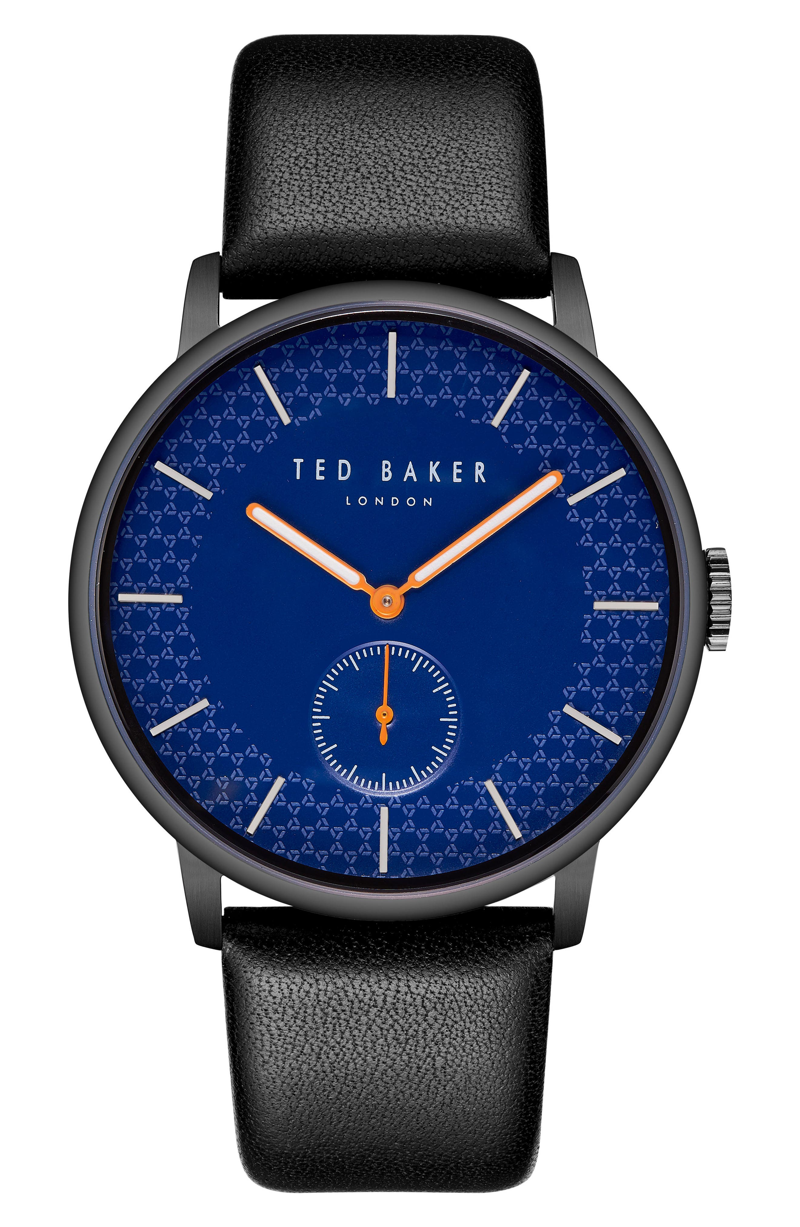 James Leather Strap Watch, 43mm,                             Main thumbnail 1, color,                             Blue/ Black