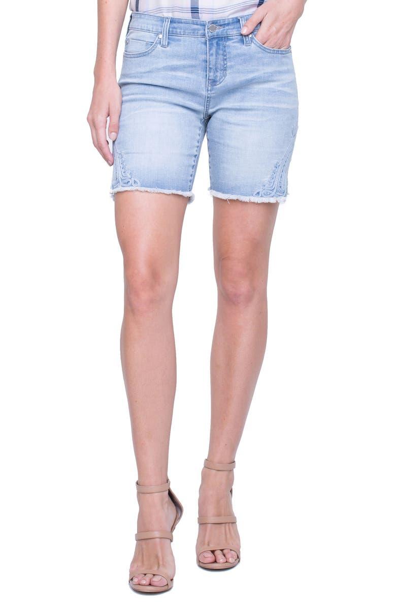 Corine Embroidered Side Slit Denim Shorts