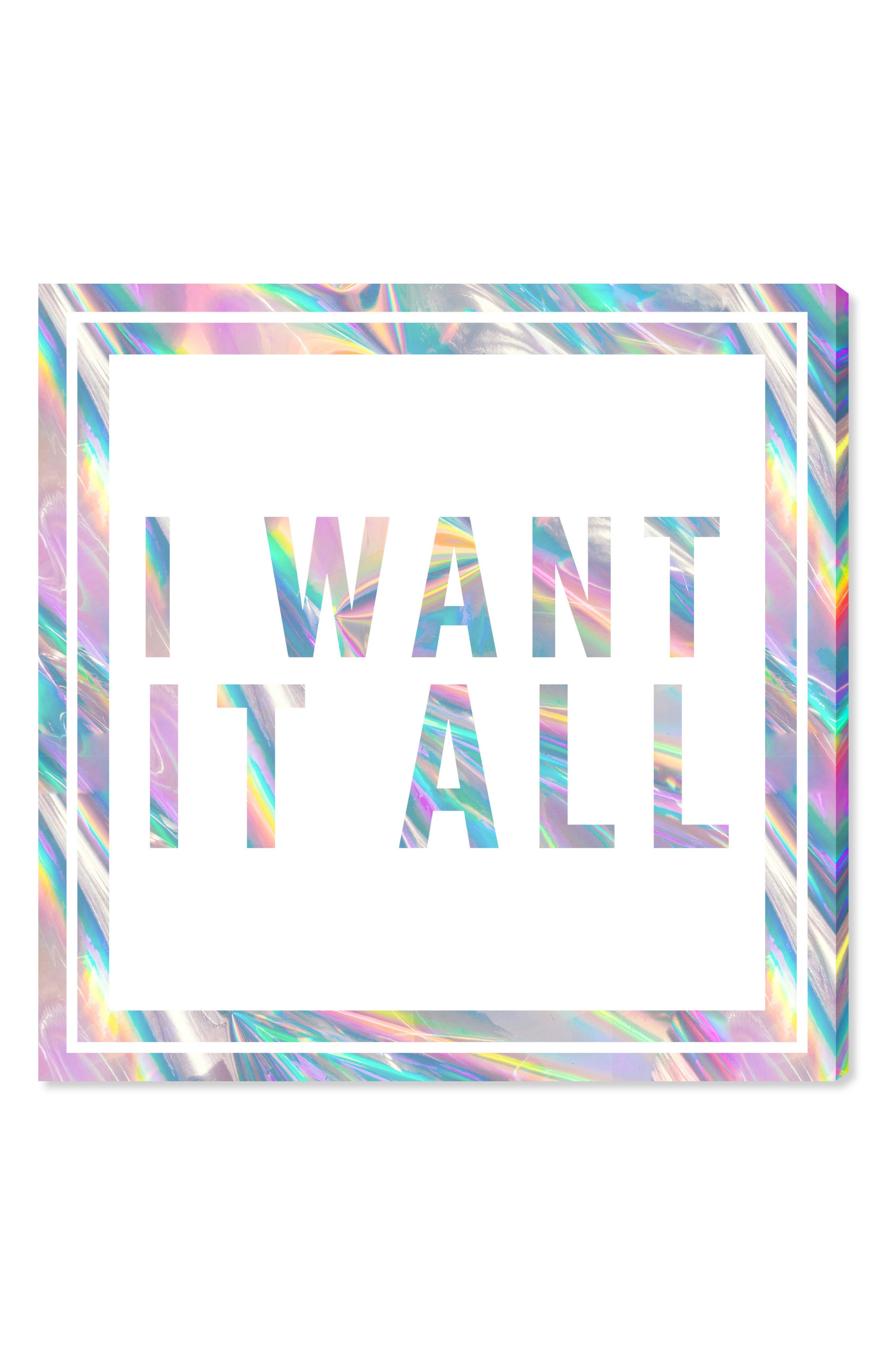 I Want It All Canvas Wall Art,                             Main thumbnail 1, color,                             White