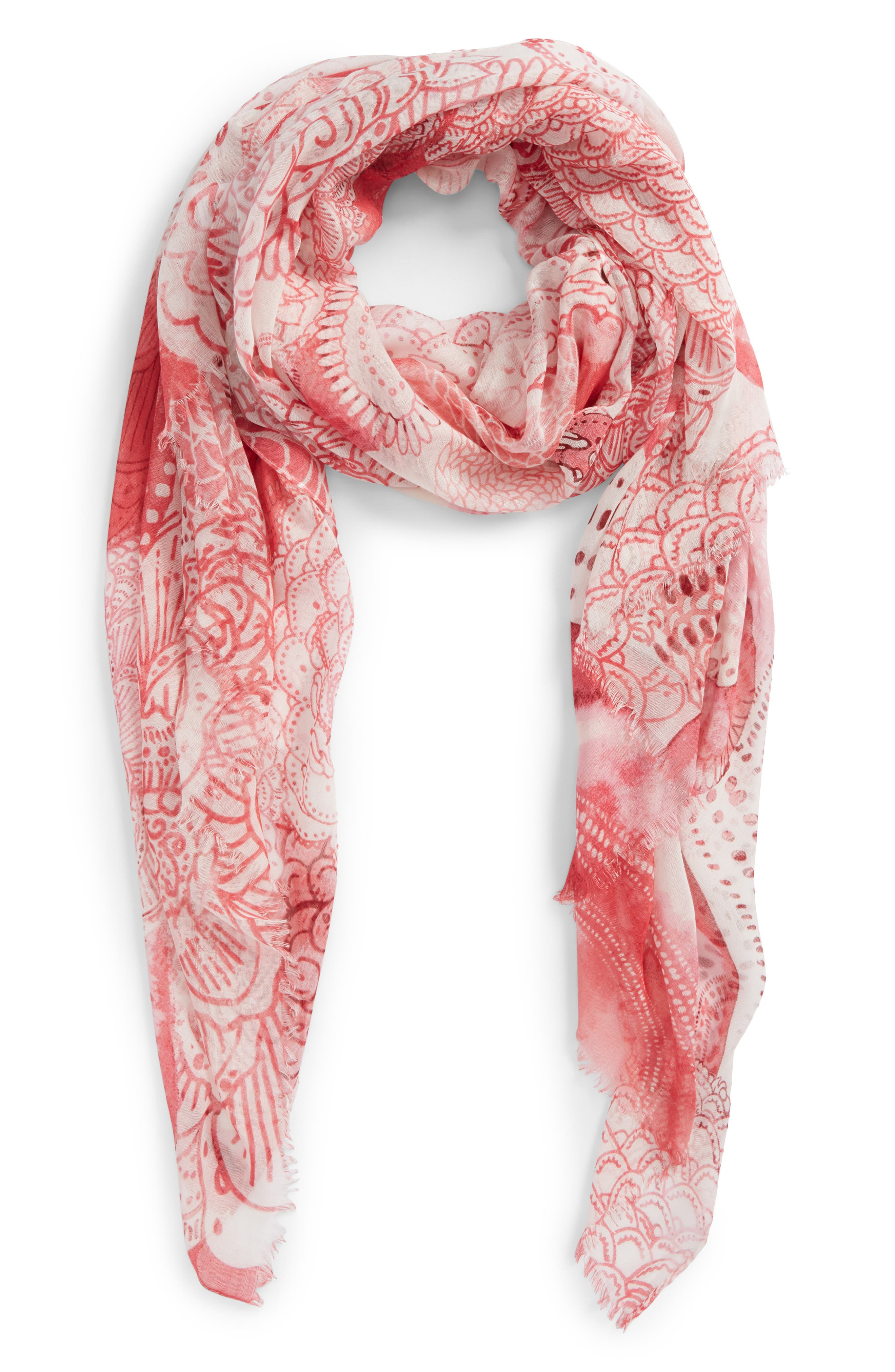 Print Modal & Silk Scarf,                         Main,                         color, Pink Mystical Beauty