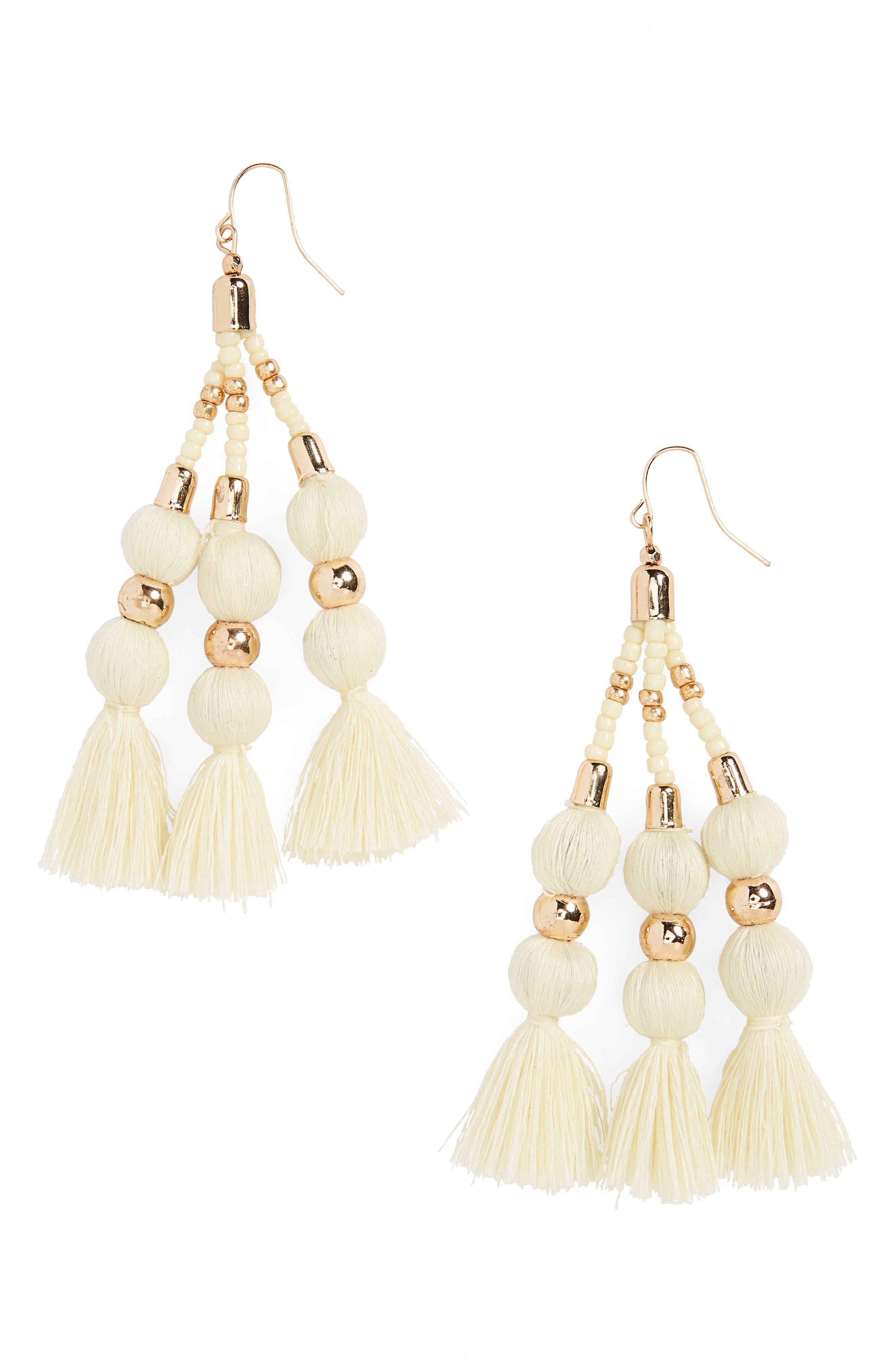 Tassel & Sphere Drop Earrings,                             Main thumbnail 1, color,                             Gold/ Cream