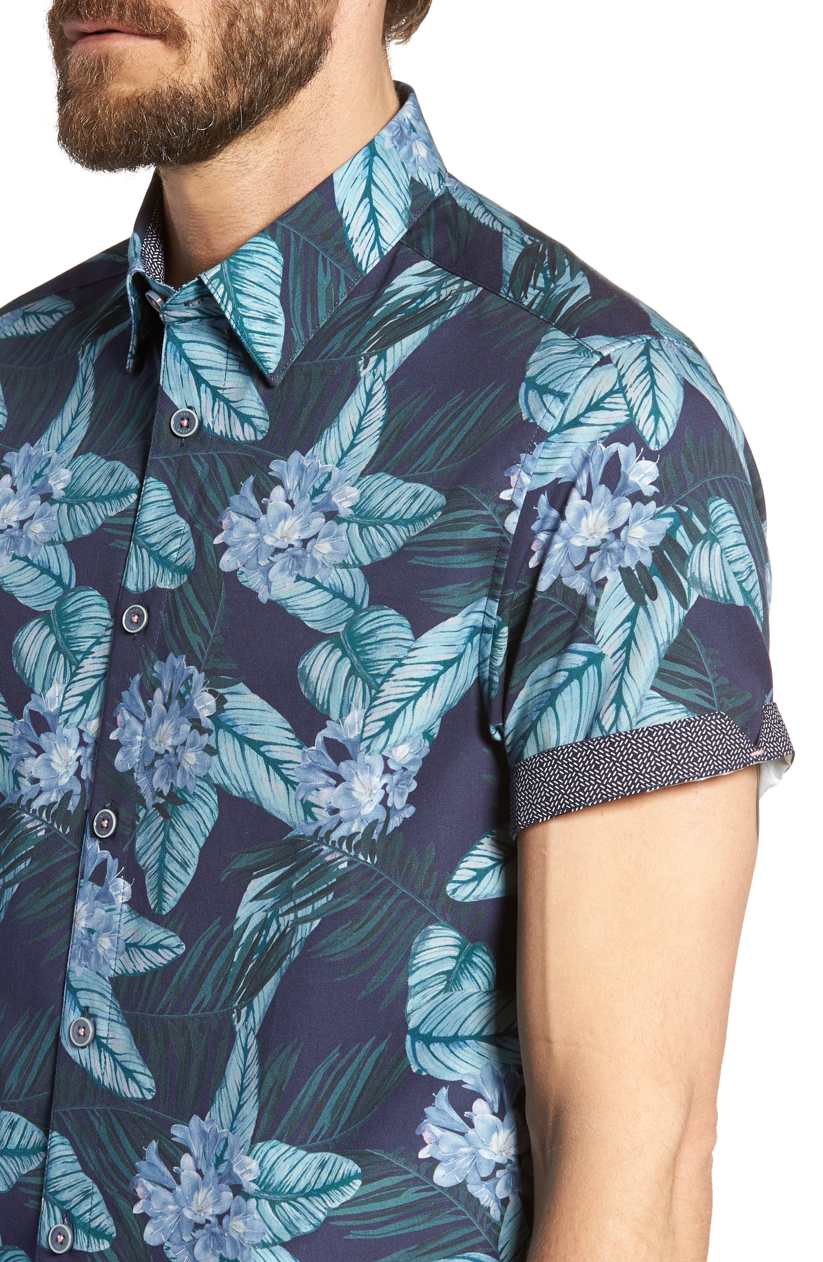 Folinor Slim Fit Floral Cotton Shirt,                             Alternate thumbnail 2, color,                             Navy