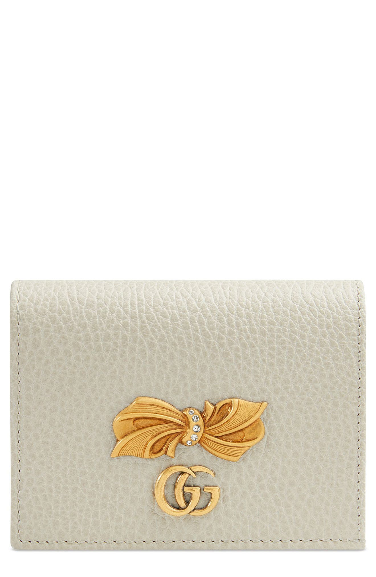 Fiocchino Leather Card Case,                         Main,                         color, Mystic White/ Pink/ Crystal