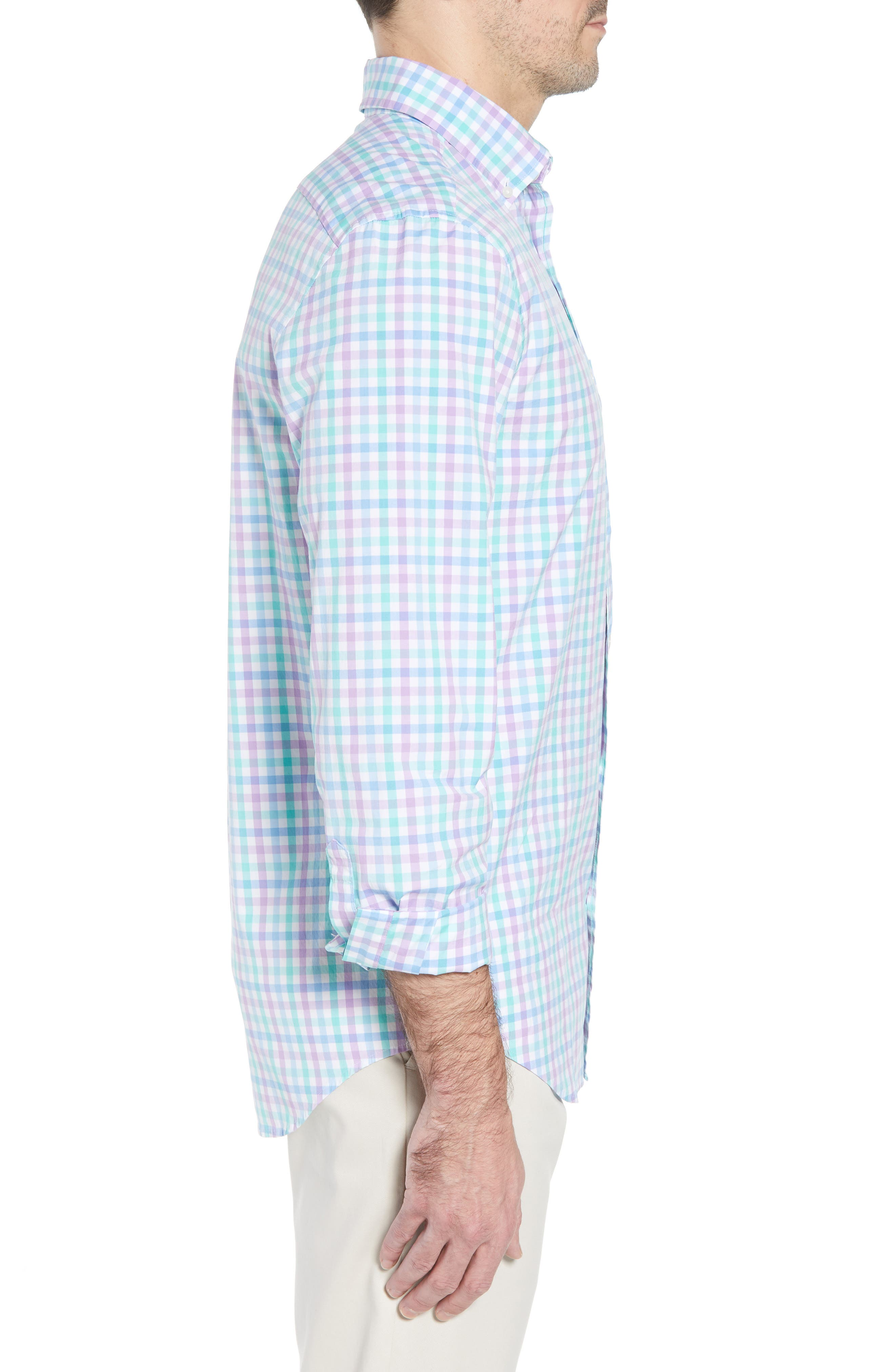 Murray Classic Fit Stretch Check Sport Shirt,                             Alternate thumbnail 4, color,                             Sea Urchin