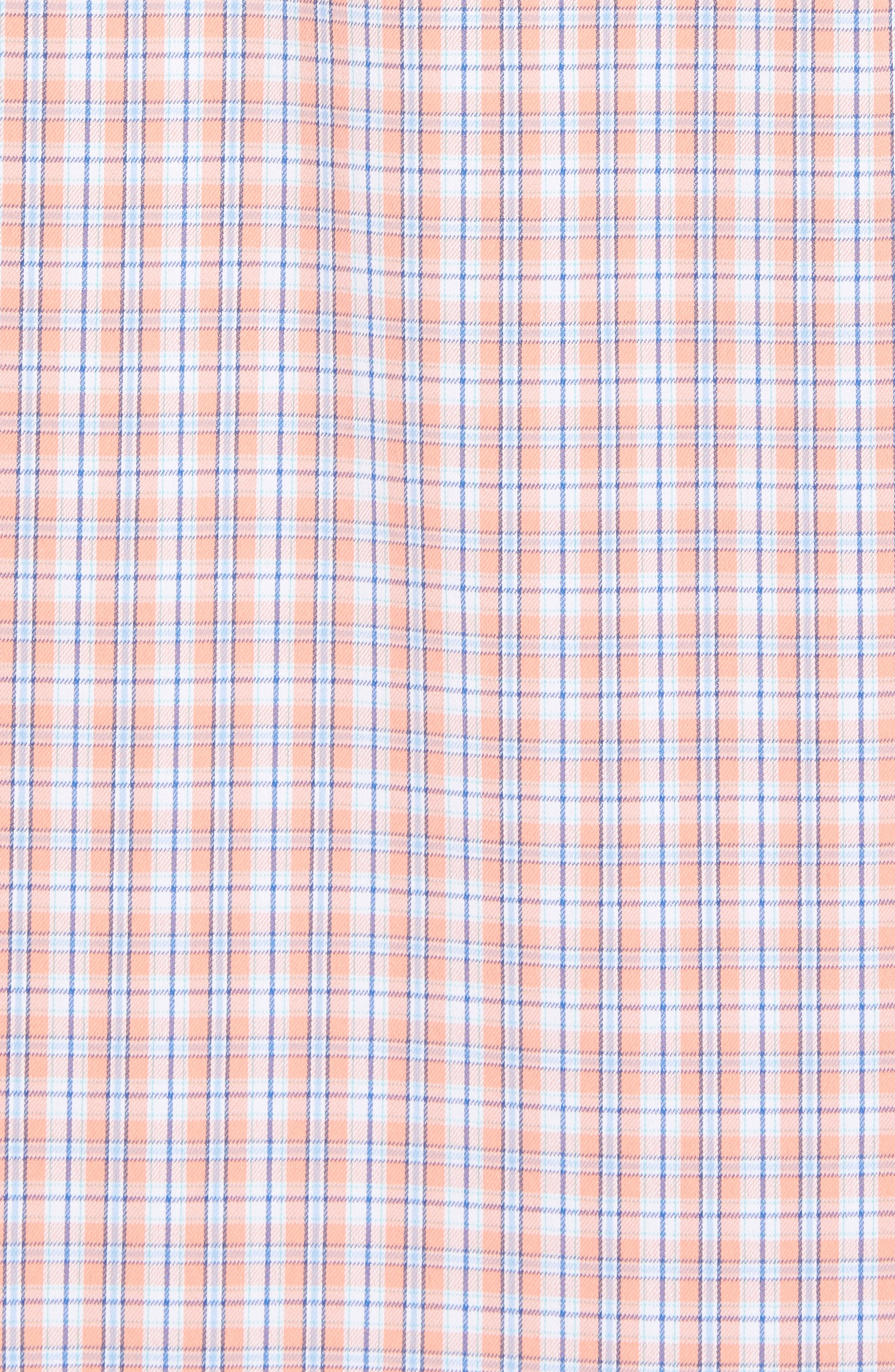 Grand Turk Regular Fit Stretch Plaid Sport Shirt,                             Alternate thumbnail 5, color,                             Nectar Coral