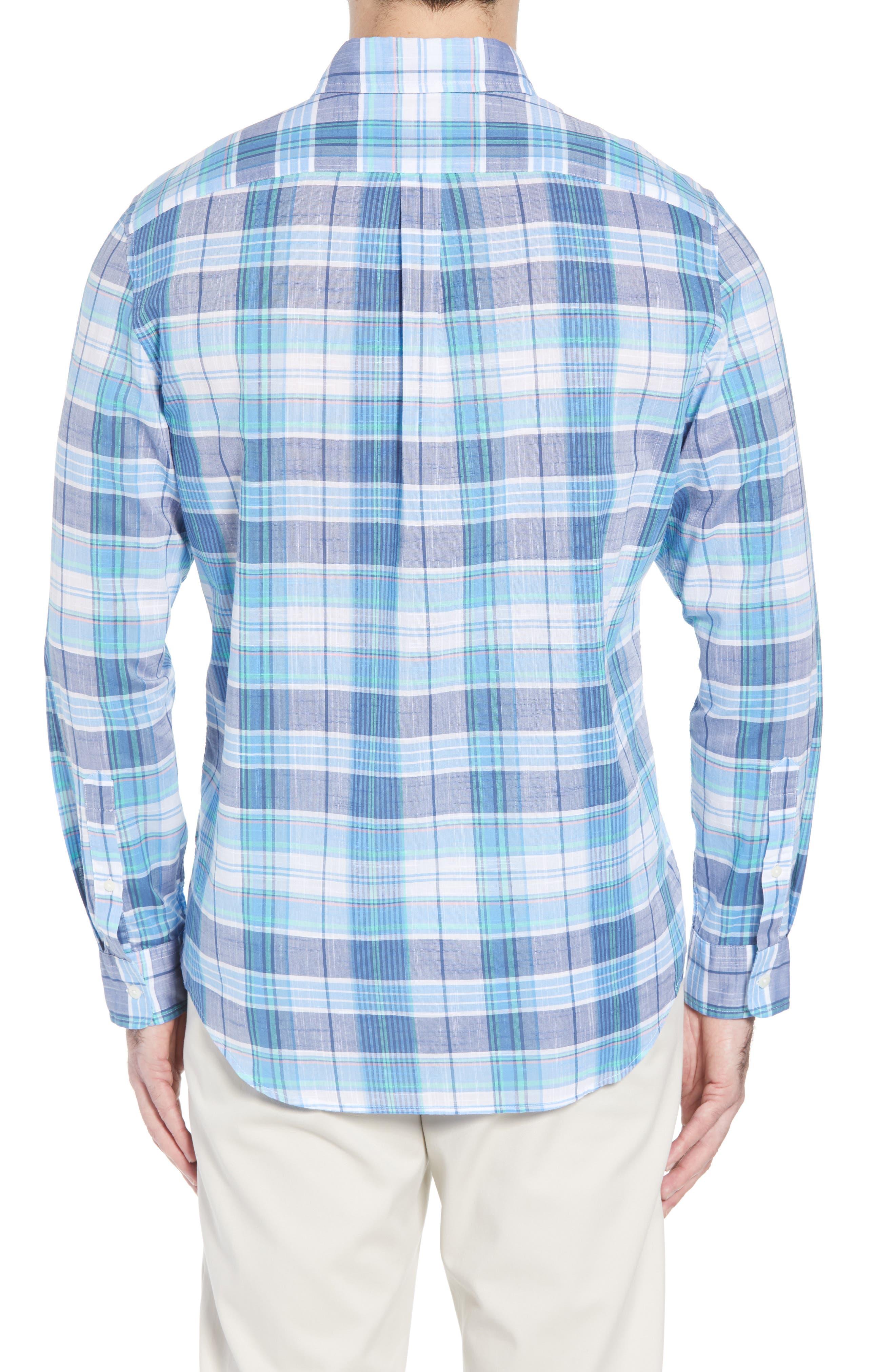 Smith Point Tucker Classic Fit Plaid Sport Shirt,                             Alternate thumbnail 2, color,                             Moonshine