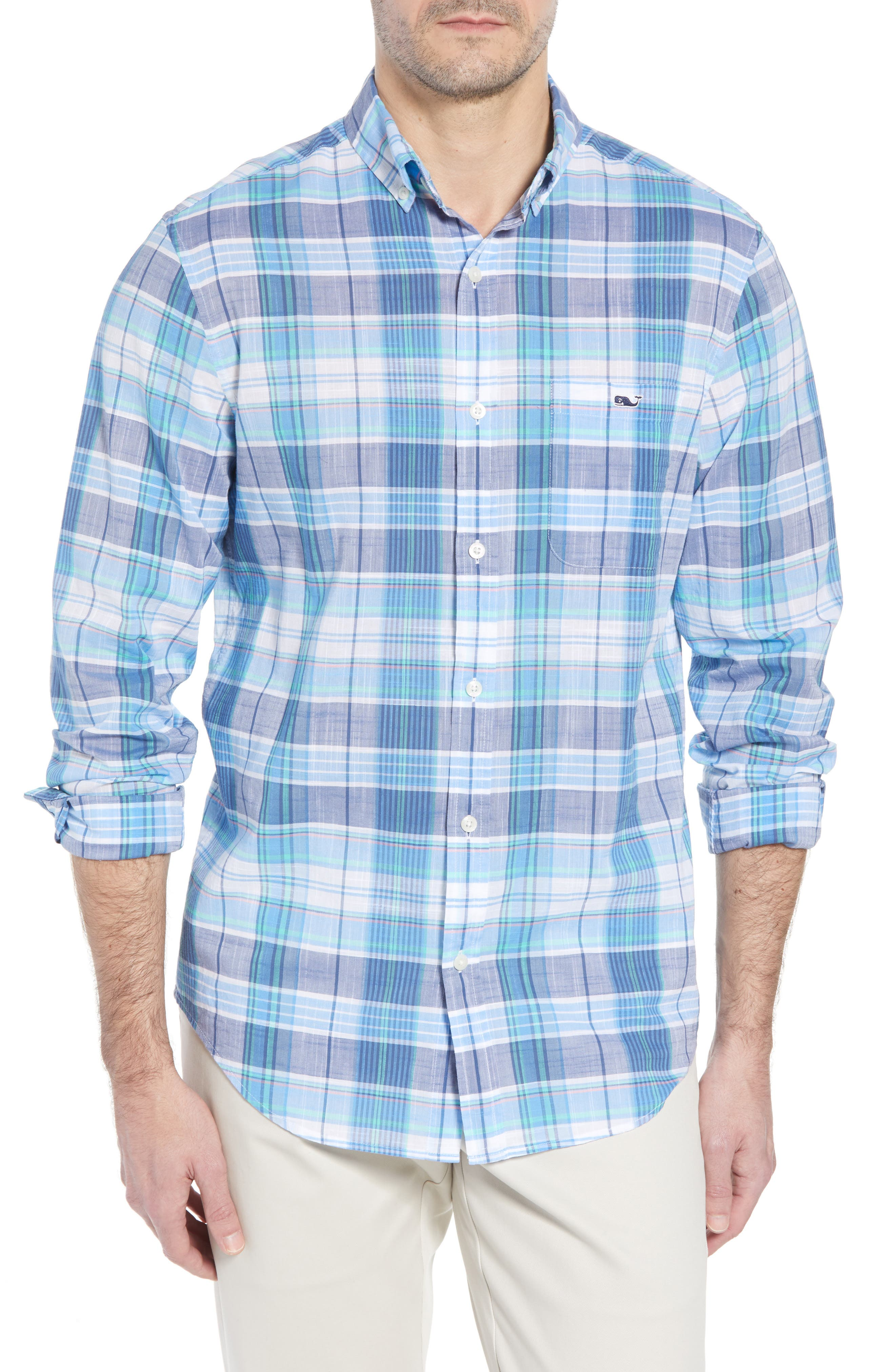 Smith Point Tucker Classic Fit Plaid Sport Shirt,                         Main,                         color, Moonshine