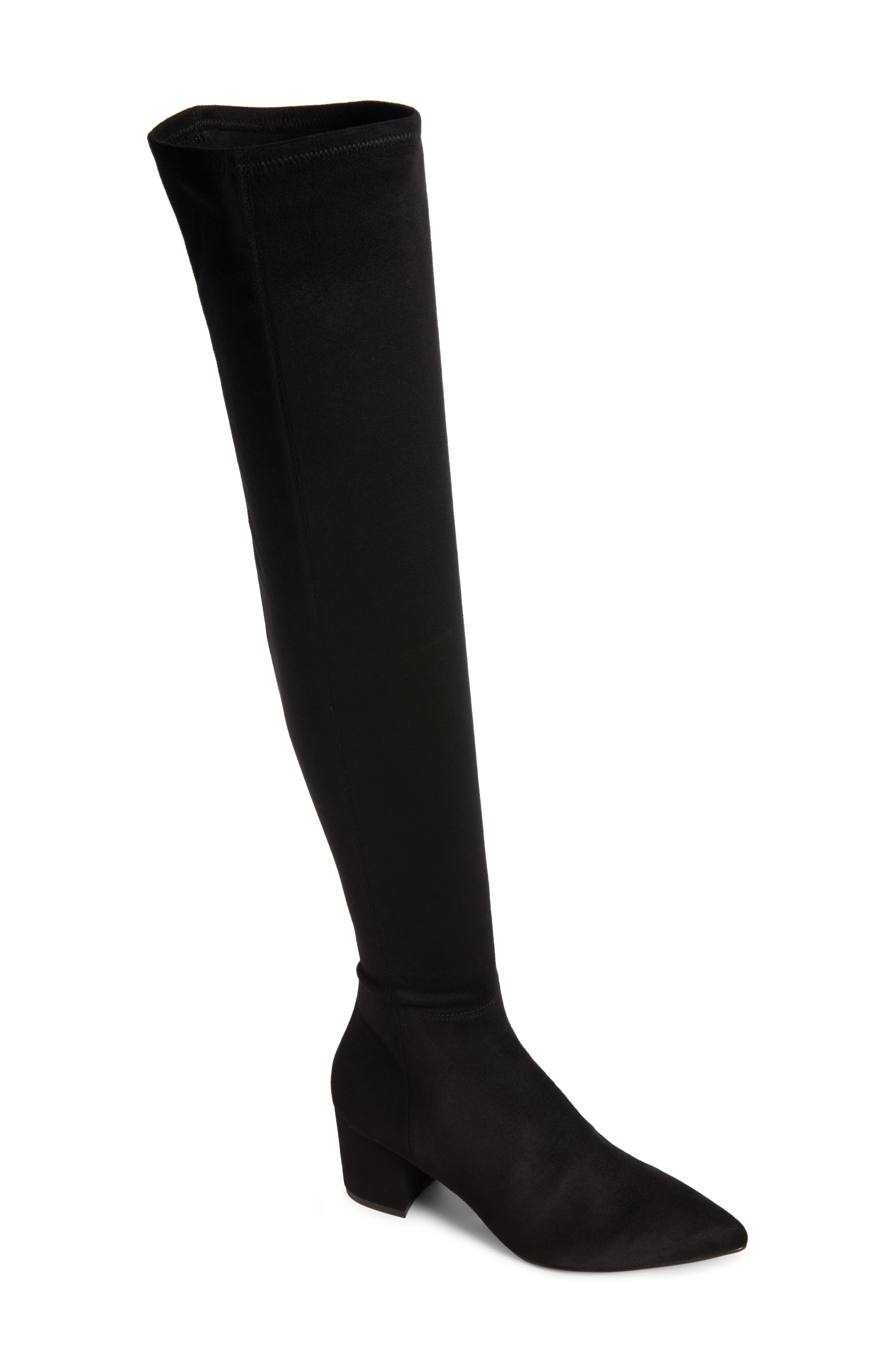 Brinkley Over the Knee Stretch Boot,                             Main thumbnail 1, color,                             Black Suede