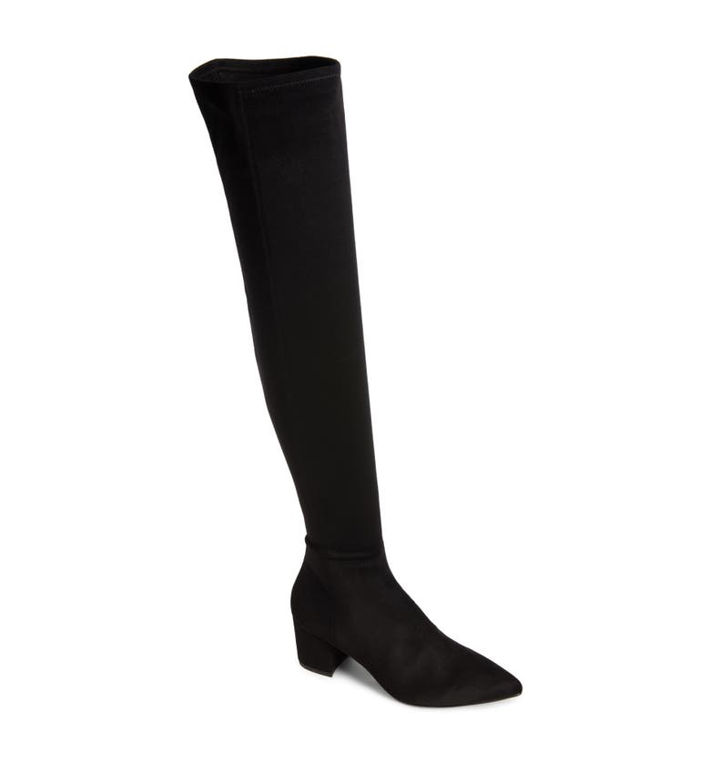 Brinkley Over the Knee Stretch Boot, Main, color, Black Suede