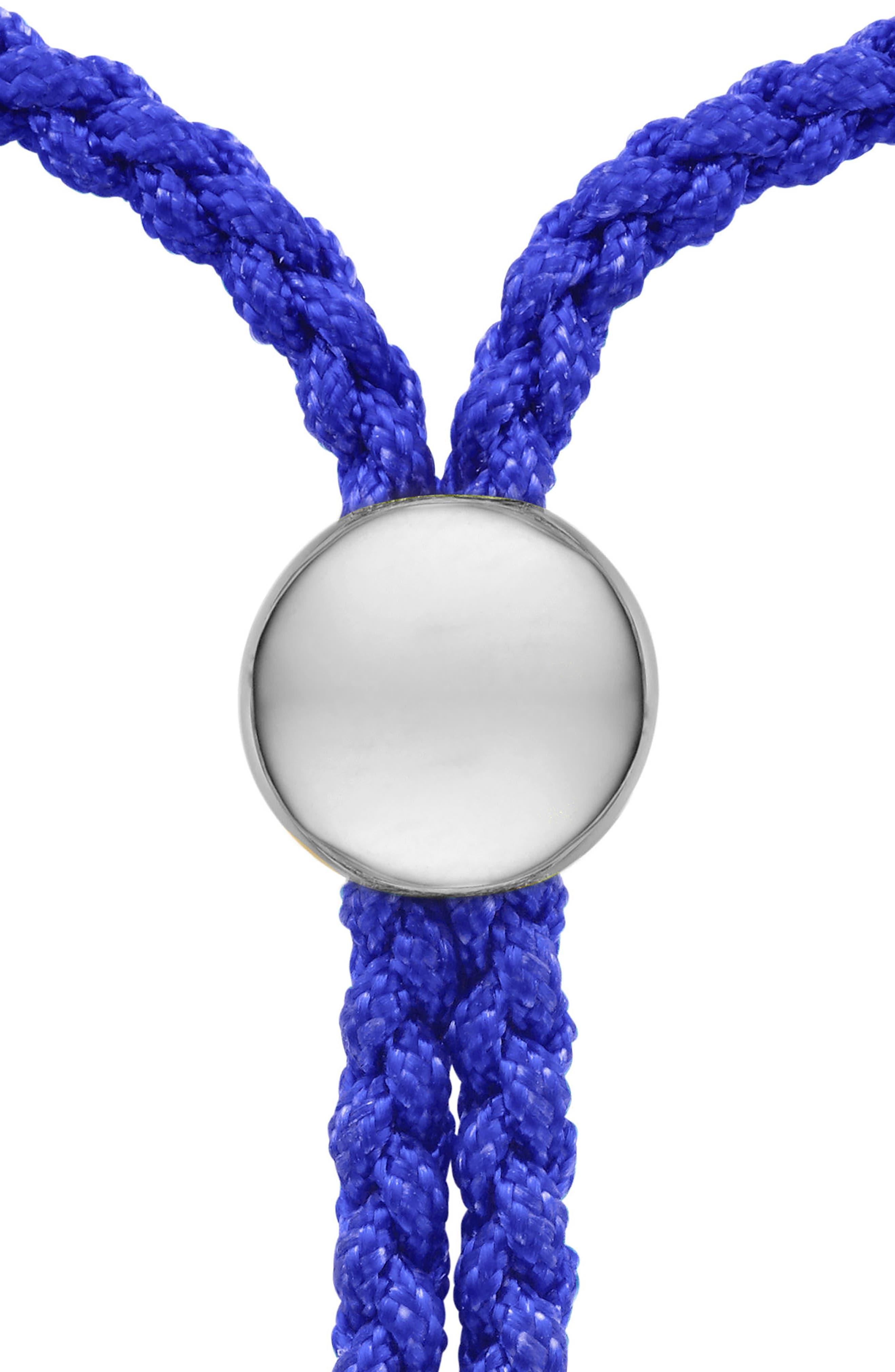 Engravable Fiji Friendship Bracelet,                             Alternate thumbnail 2, color,                             Silver/ Blue Majorelle