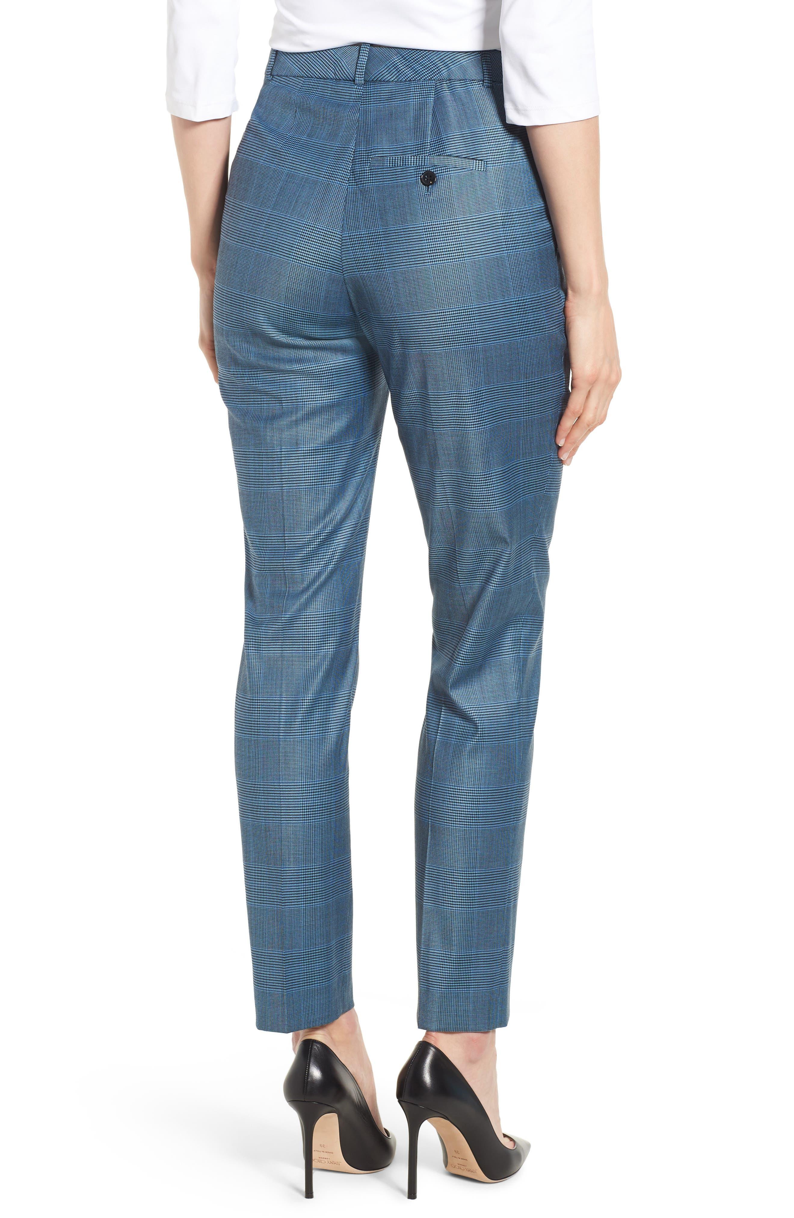 Tofilia Glencheck Slim Fit Trousers,                             Alternate thumbnail 2, color,                             Sailor Blue Fantasy