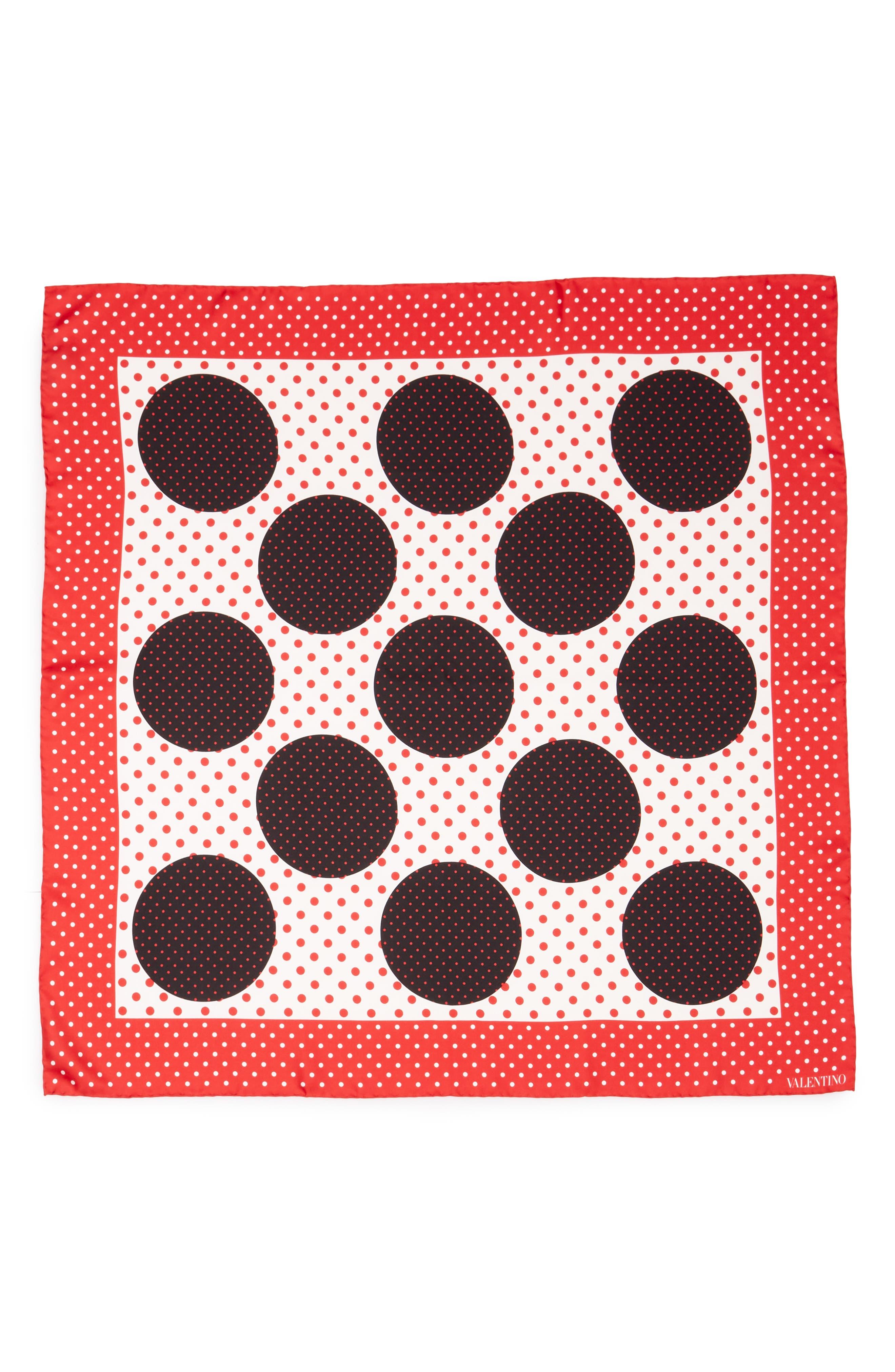 Classic Dot Silk Scarf,                         Main,                         color, Red Multi