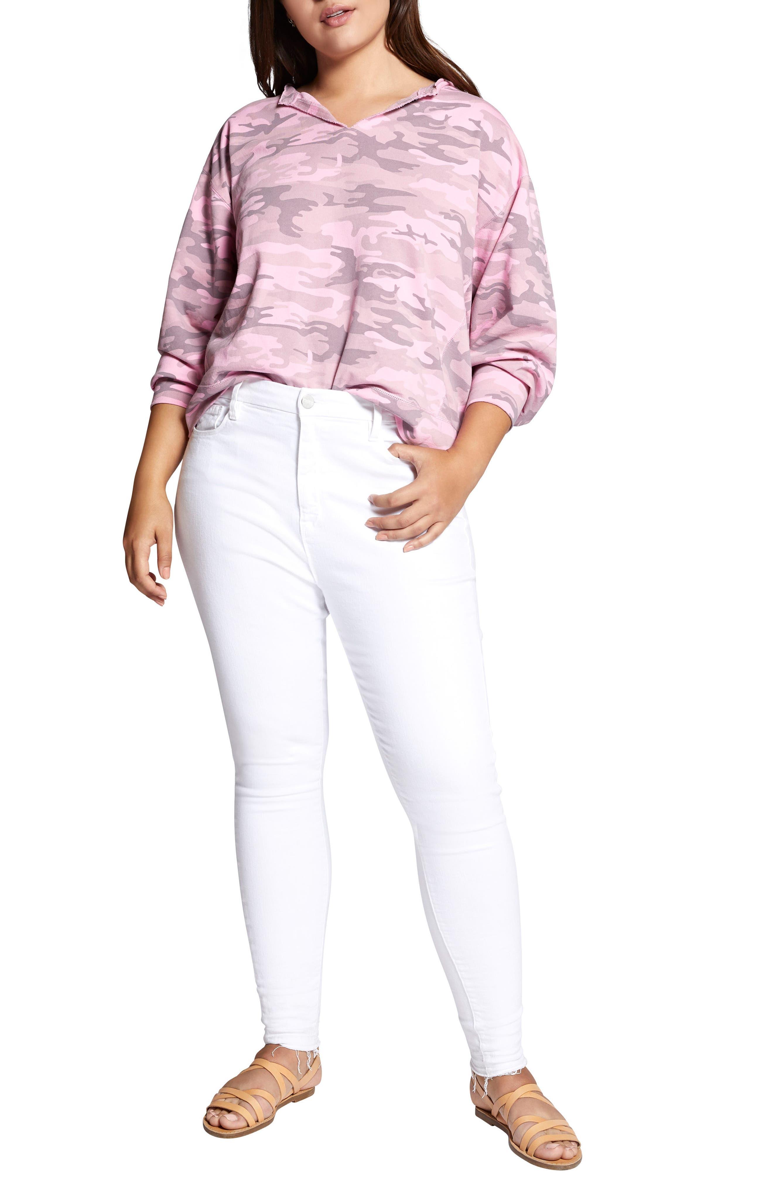 Breslin Split Neck Sweatshirt,                             Alternate thumbnail 2, color,                             Wild Cherry Camo