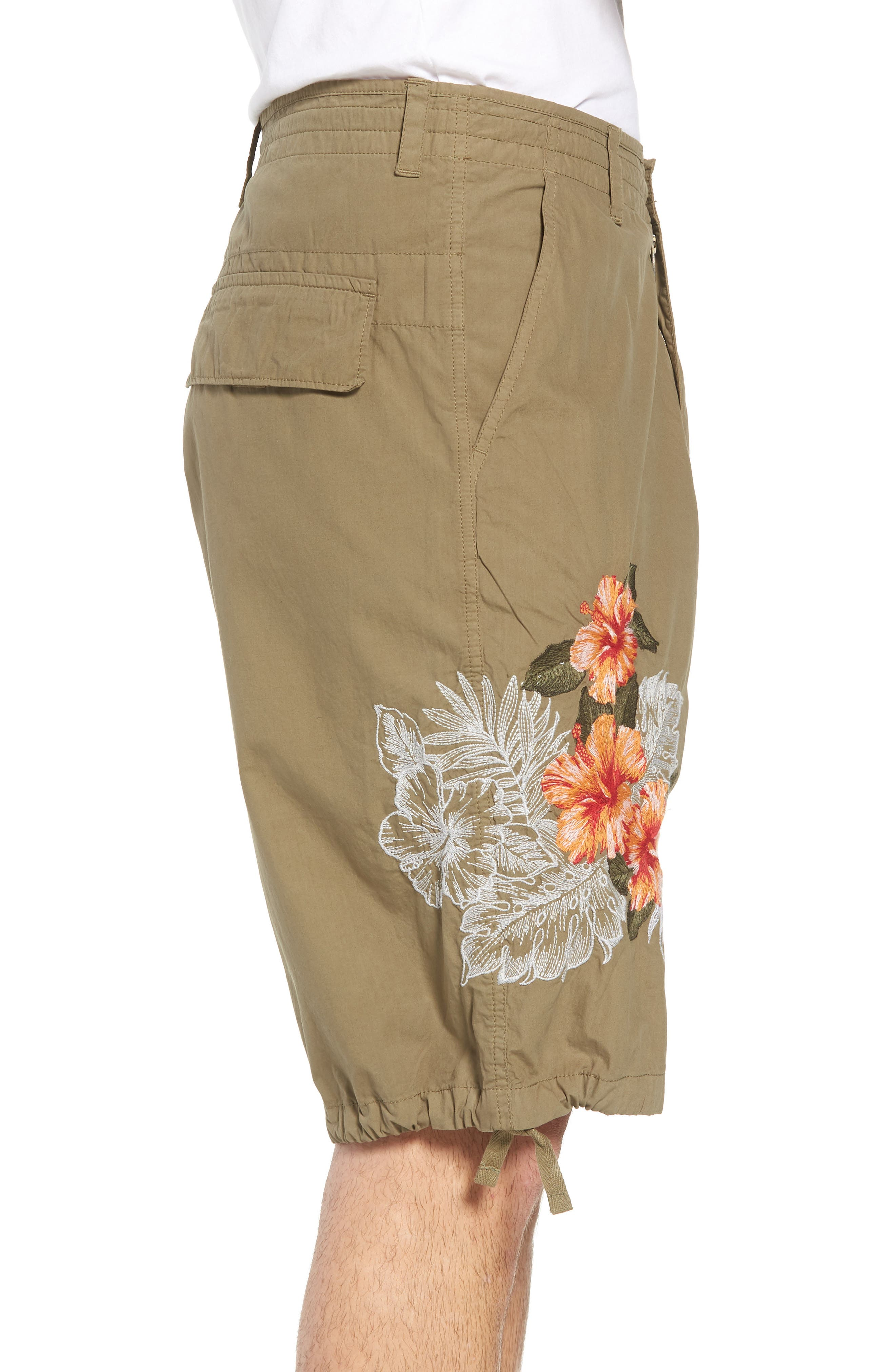Embroidered Poplin Shorts,                             Alternate thumbnail 3, color,                             Deep Lichen Green