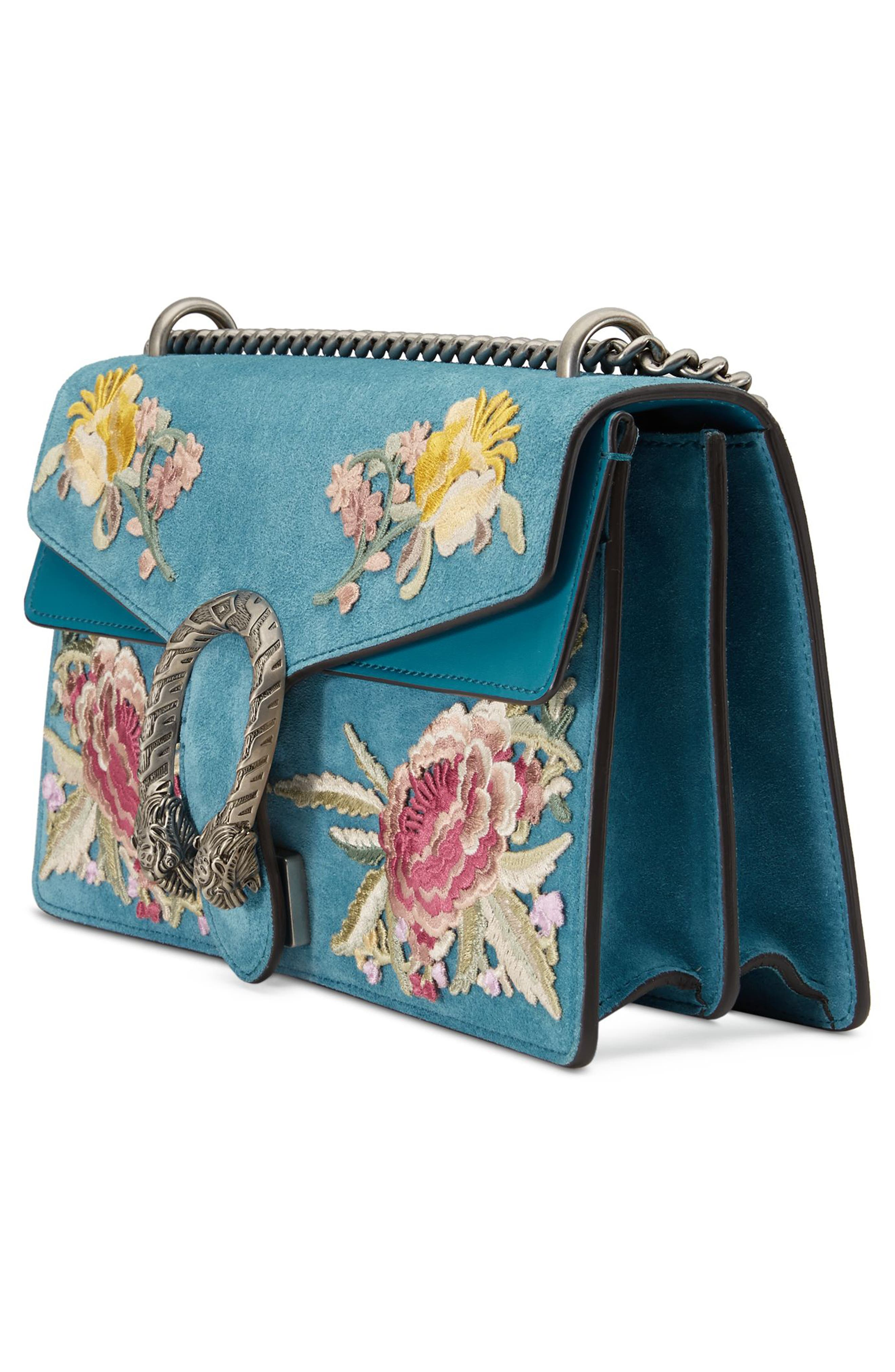 Small Dionysus Embroidered Suede Shoulder Bag,                             Alternate thumbnail 4, color,                             Zaffiro/ Zaffiro Multi