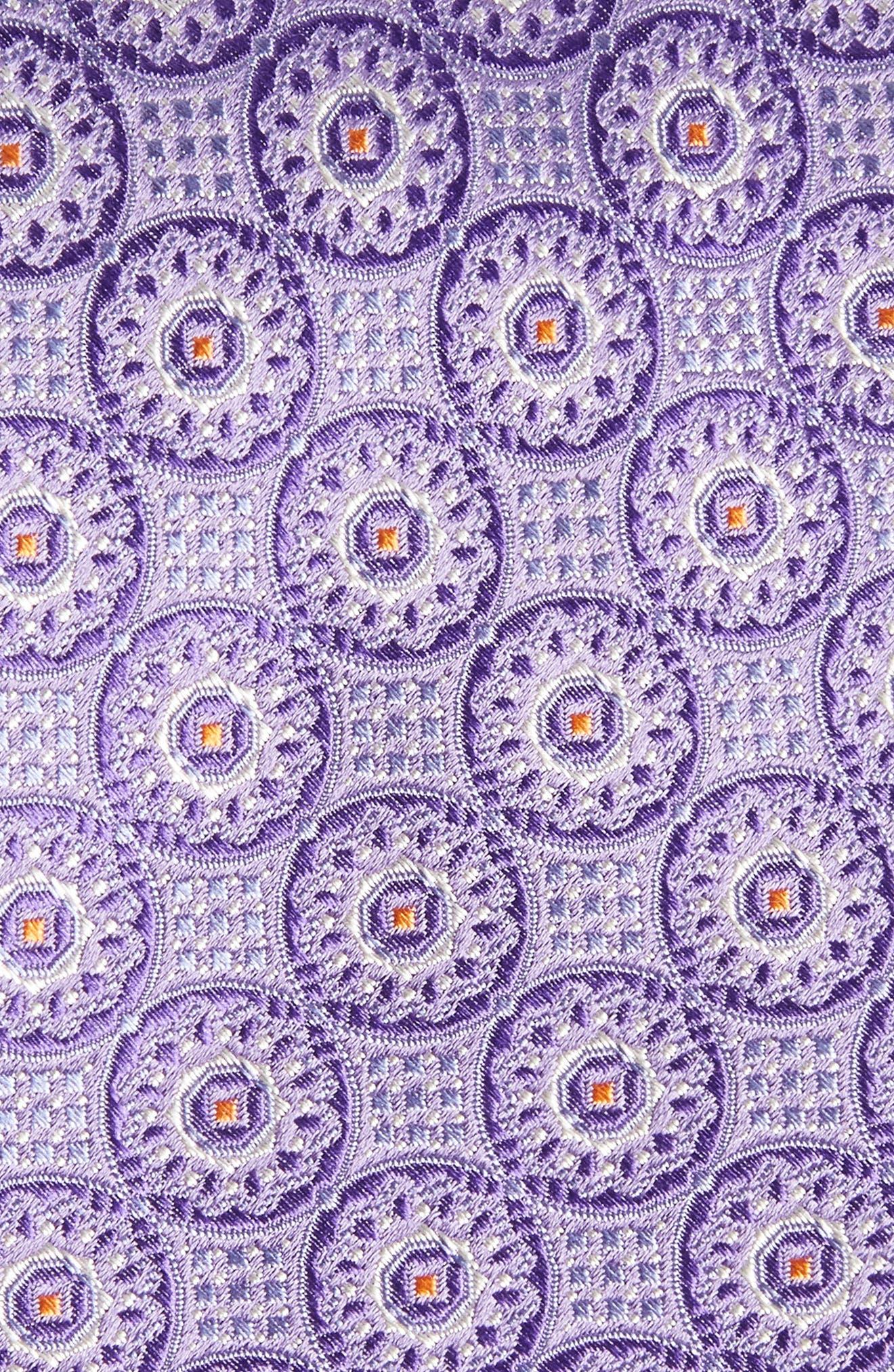 Kaymer Medallion Silk Tie,                             Alternate thumbnail 2, color,                             Purple