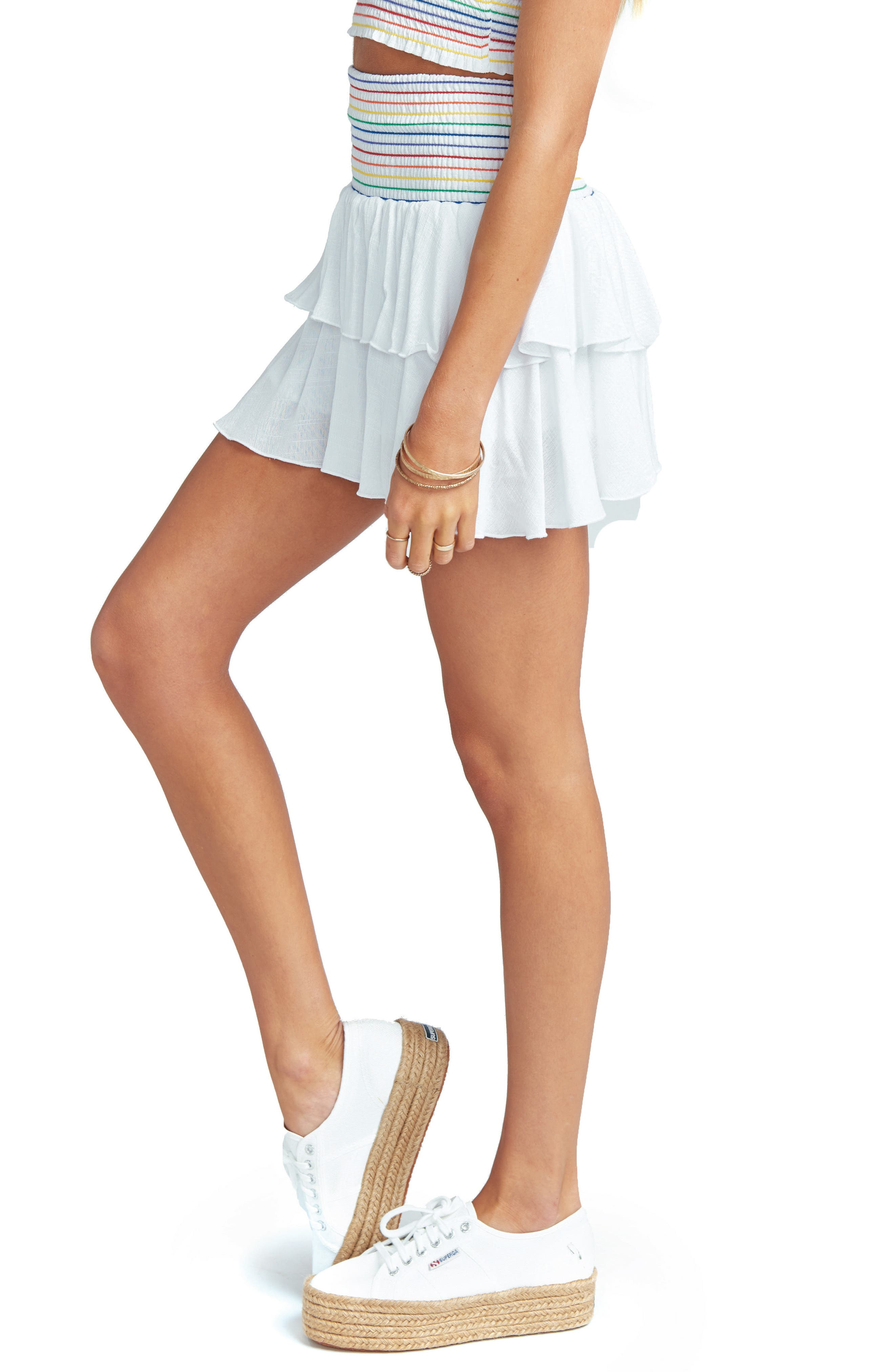 Frolick Ruffle Skort,                             Alternate thumbnail 4, color,                             White Cruise With Rainbow