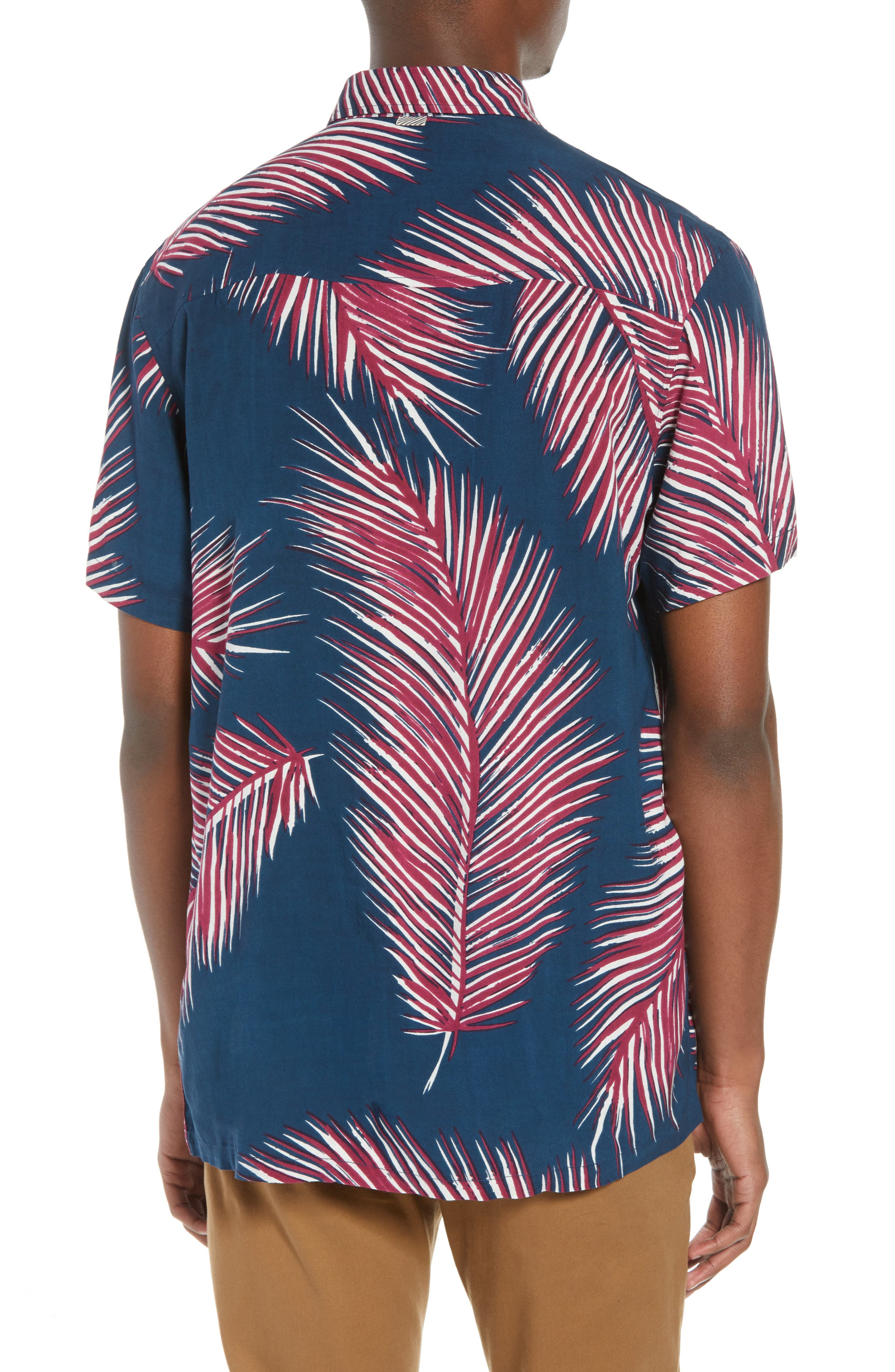 Giant Palms Woven Shirt,                             Alternate thumbnail 3, color,                             Navy