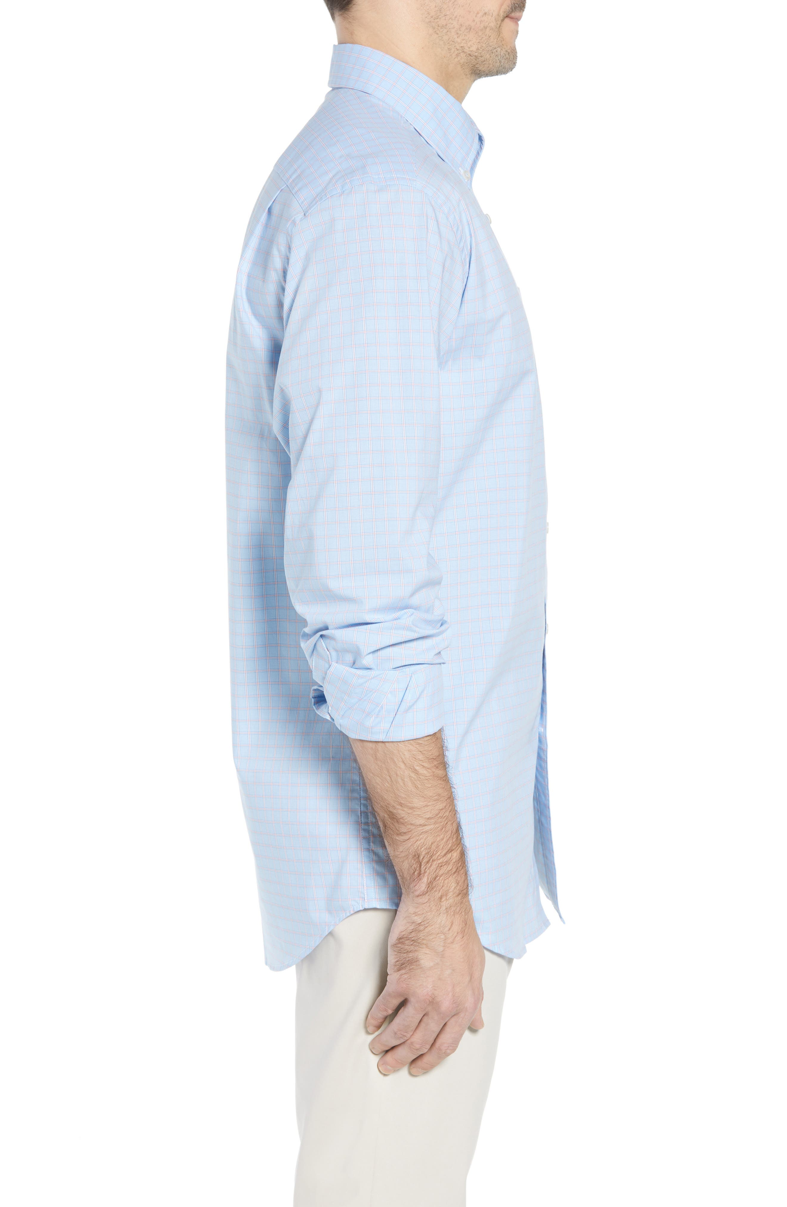 Buck Island Regular Fit Stretch Check Sport Shirt,                             Alternate thumbnail 4, color,                             Blue Stream