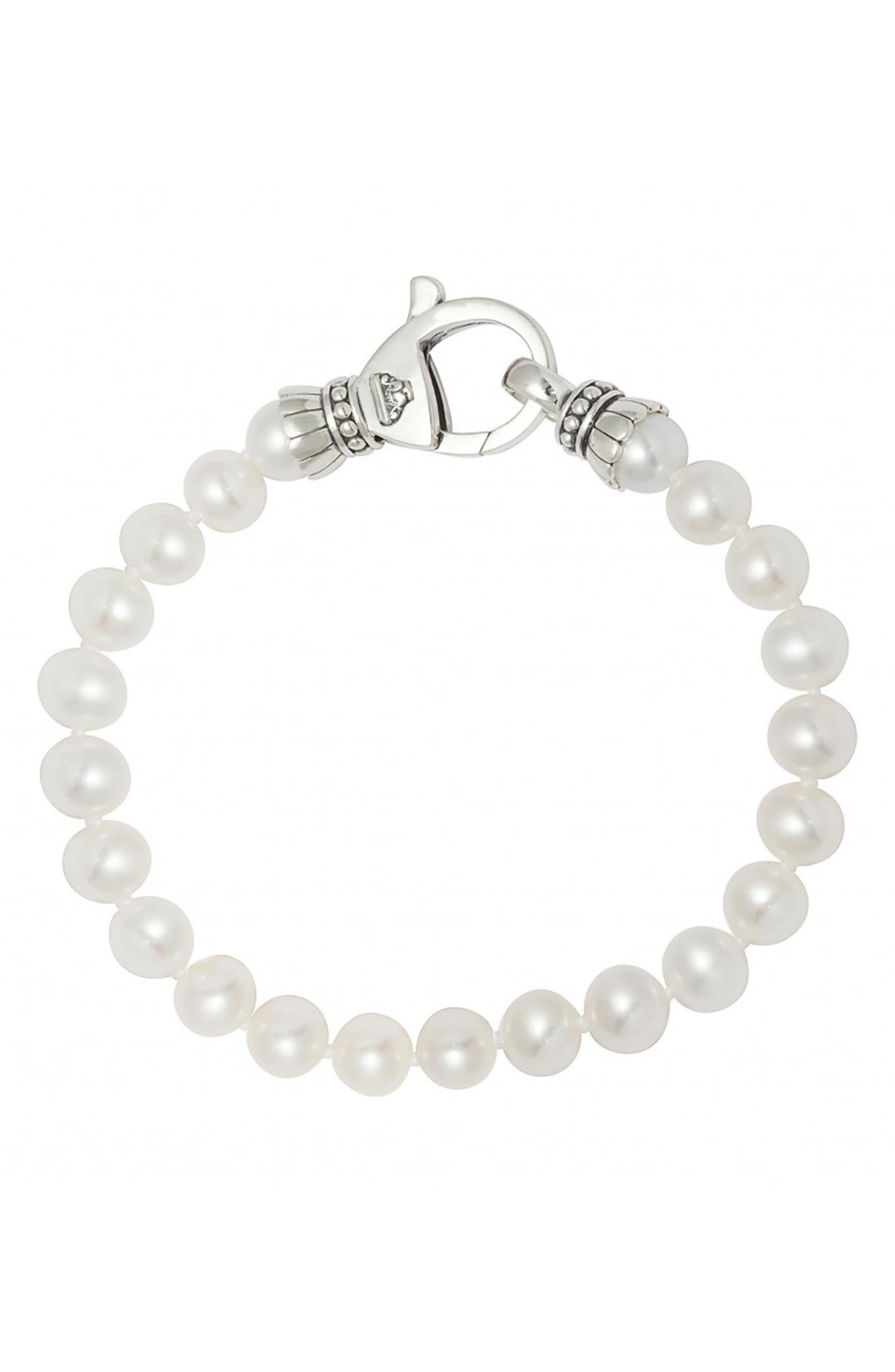 'Luna' 7.5mm Pearl Bracelet,                             Main thumbnail 1, color,                             Silver/ Pearl