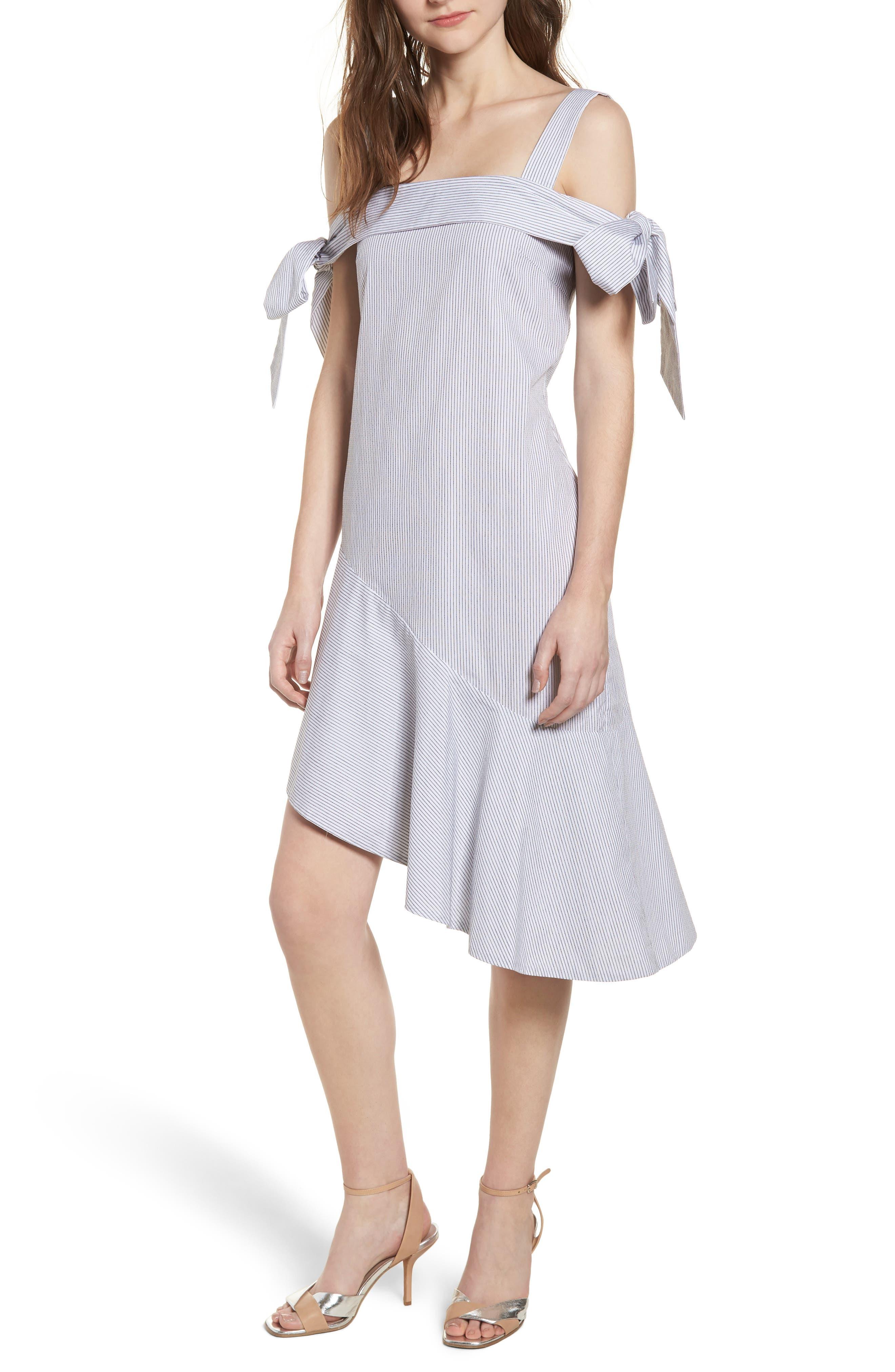Tone Cold Shoulder Dress,                             Main thumbnail 1, color,                             Stripe