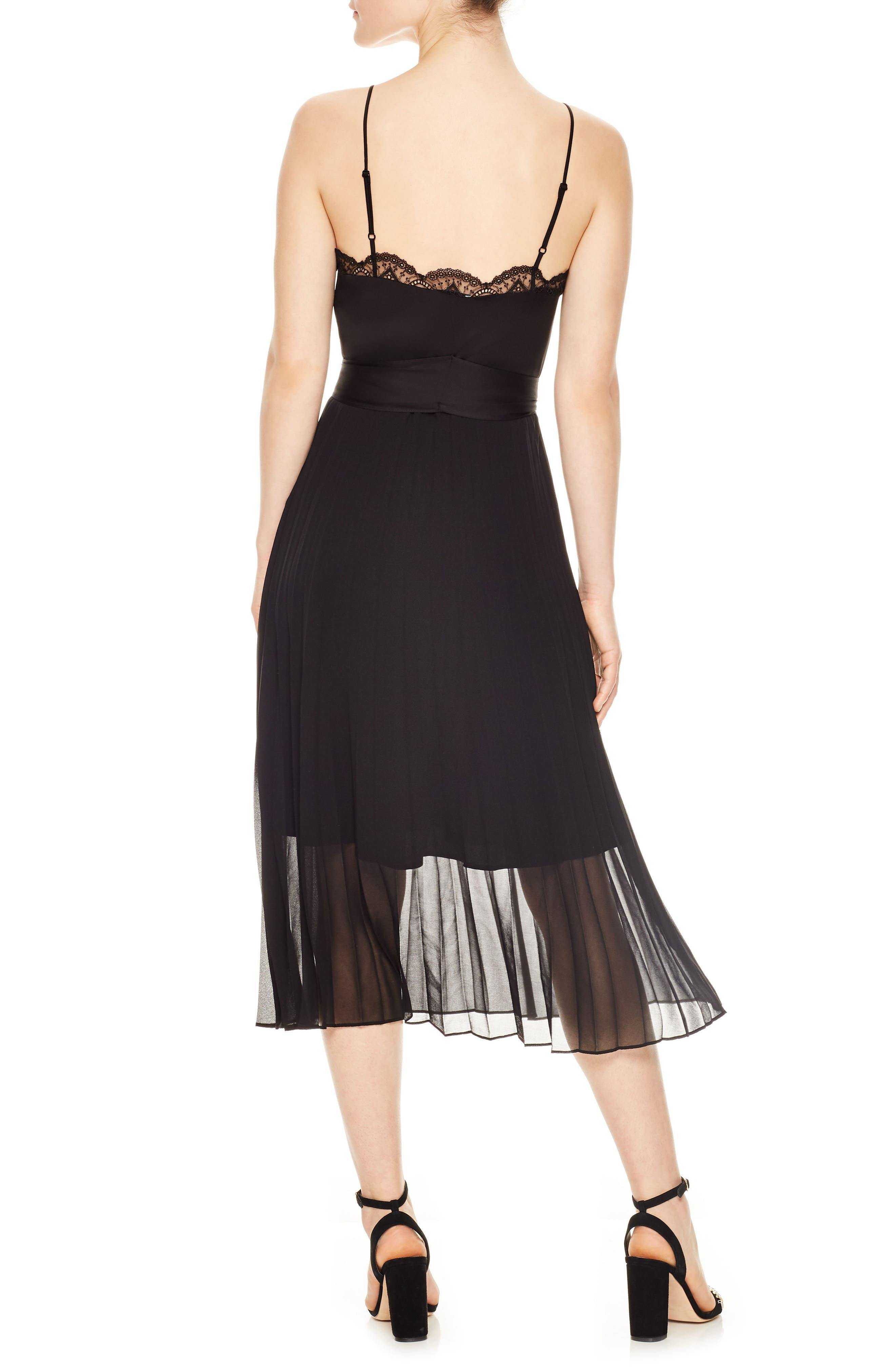 Pleated Chiffon Overlay Dress,                             Alternate thumbnail 2, color,                             Noir
