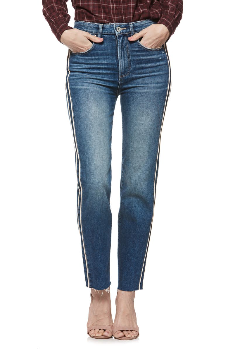Hoxton Paige Vintage Side Stripe High Waist Straight Leg Ankle Jeans