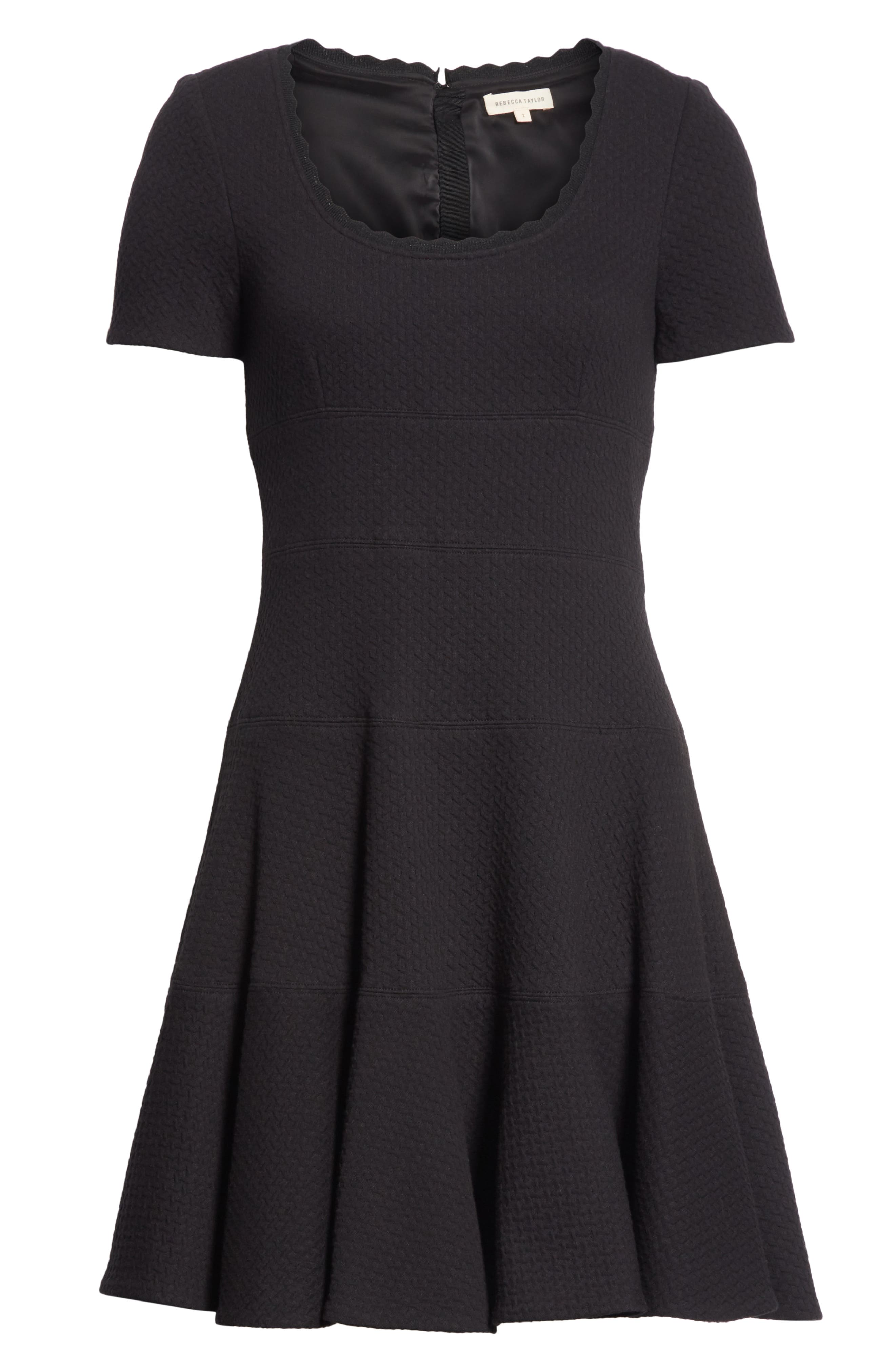 Textured Stretch Cotton Fit & Flare Dress,                             Alternate thumbnail 7, color,                             Black