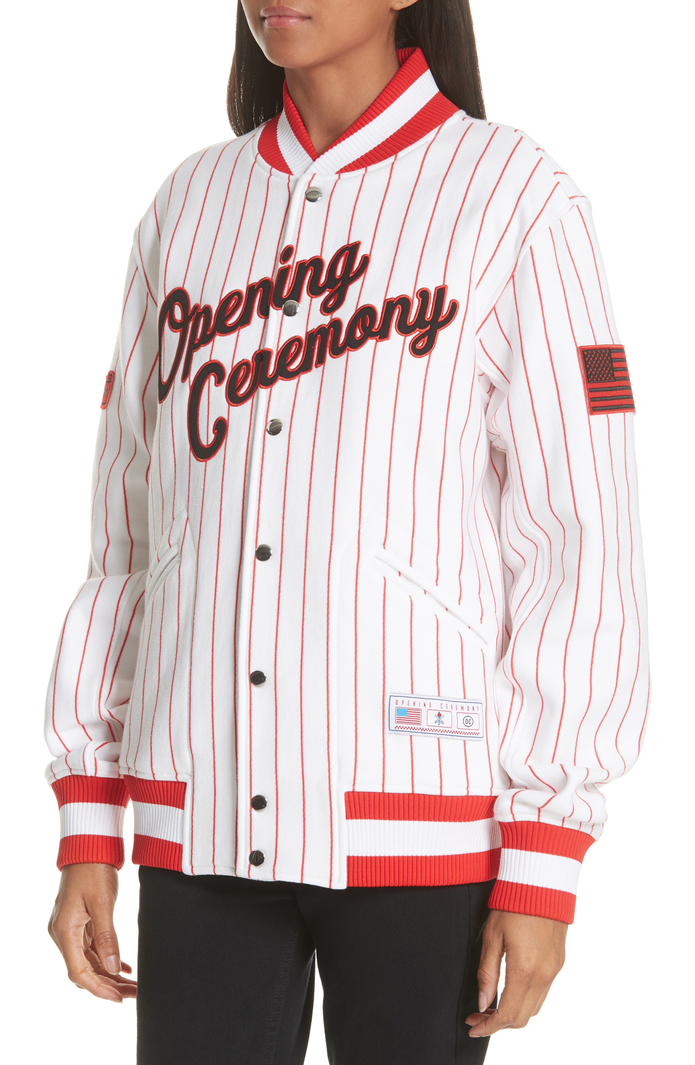 Pinstripe Varsity Jacket,                             Alternate thumbnail 5, color,                             White