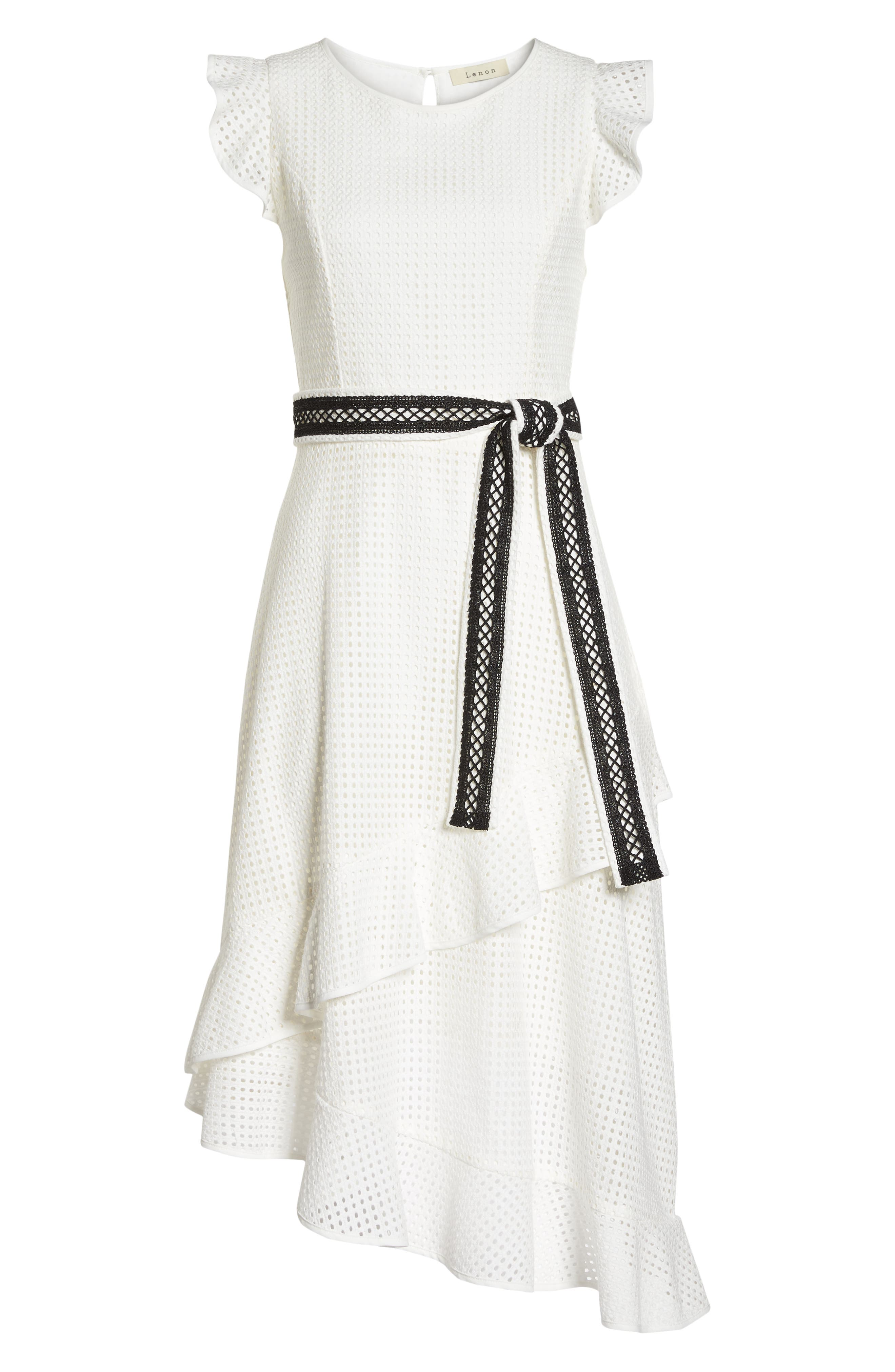 Asymmetrical Hem Dress,                             Alternate thumbnail 7, color,                             White