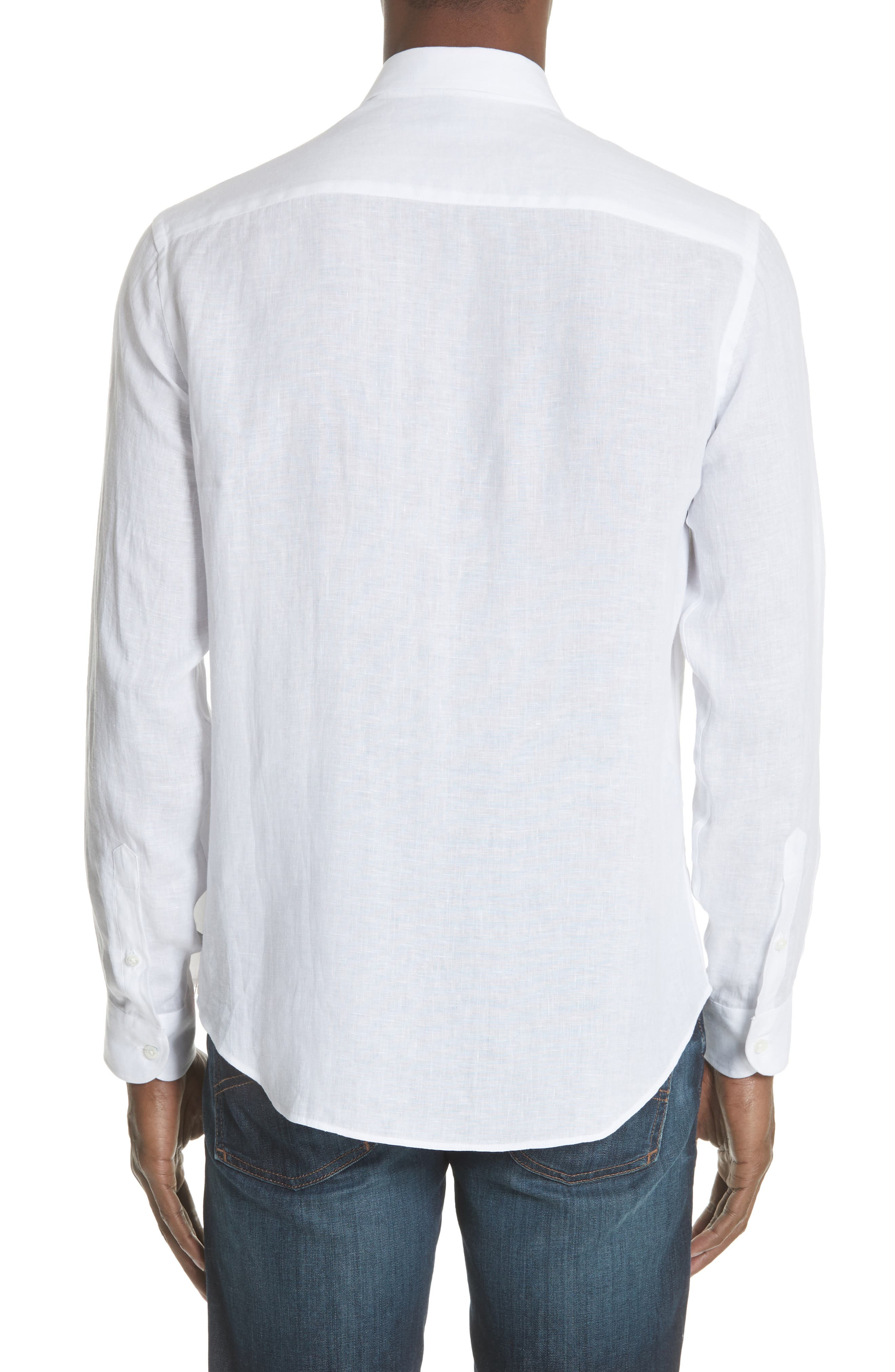 Regular Fit Linen Dress Shirt,                             Alternate thumbnail 3, color,                             White