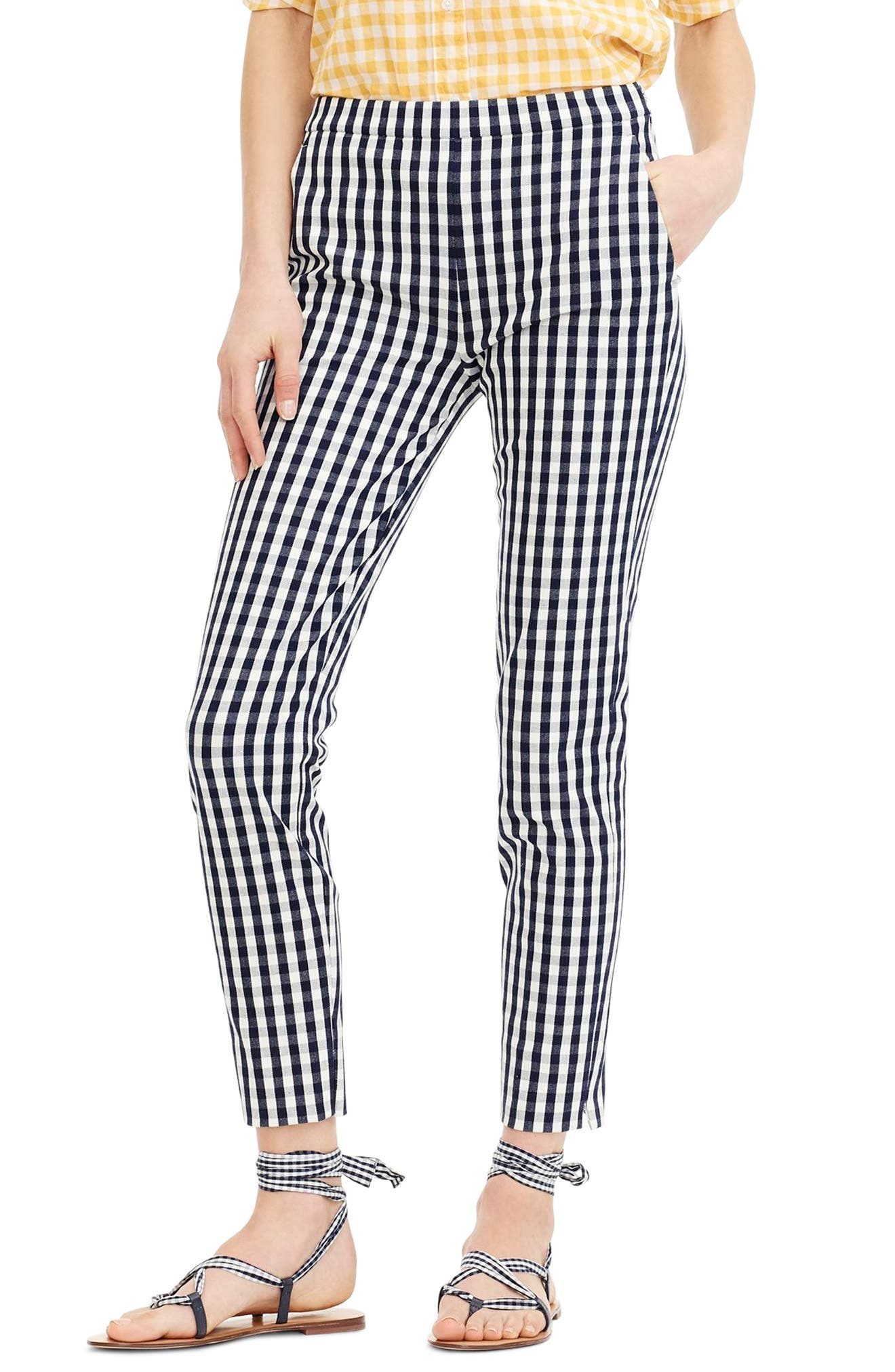 J.Crew Martie Gingham Stretch Cotton Pants (Regular & Petite)