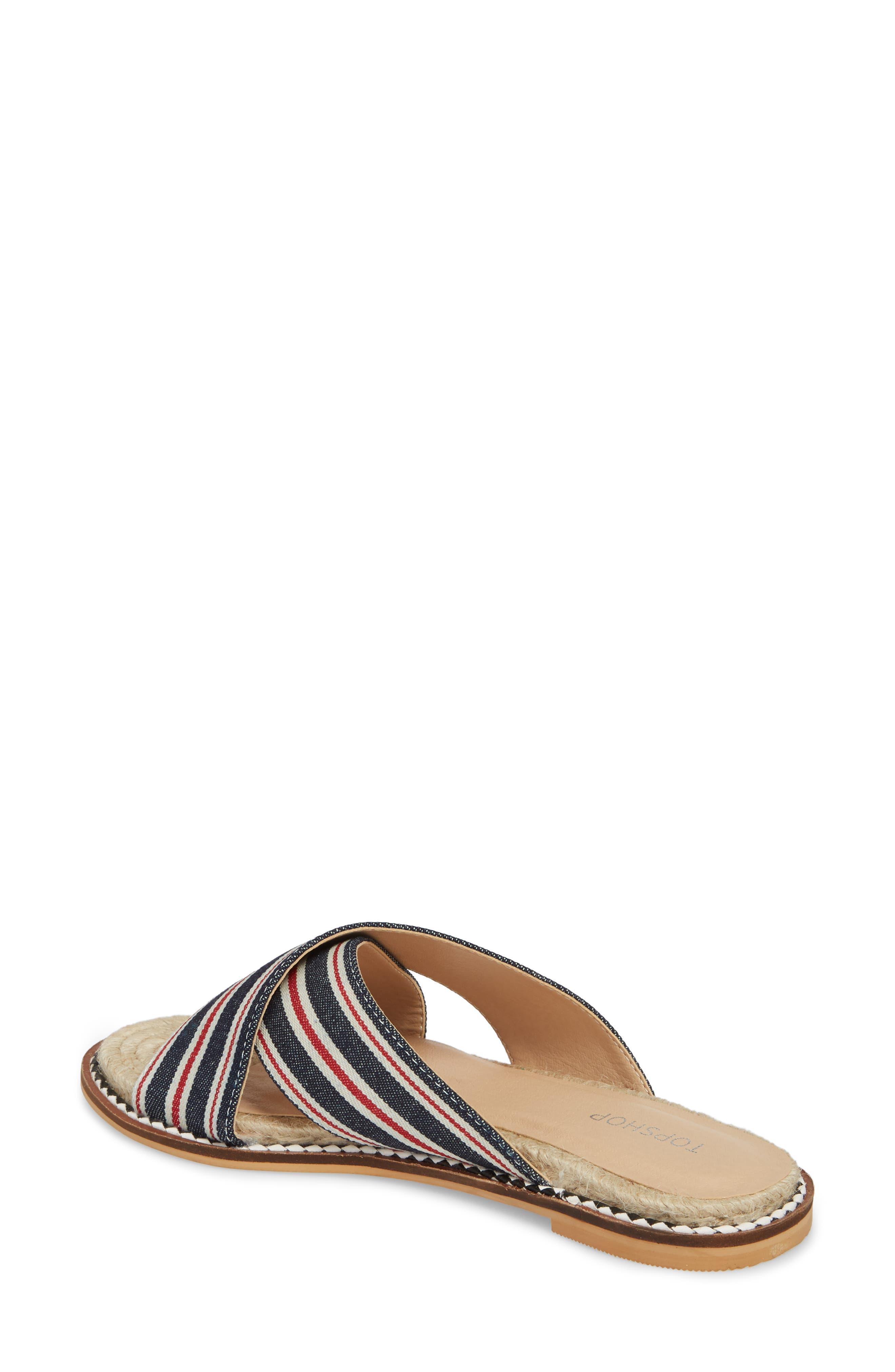 Hibiscus Slide Sandal,                             Alternate thumbnail 2, color,                             Navy Blue Multi