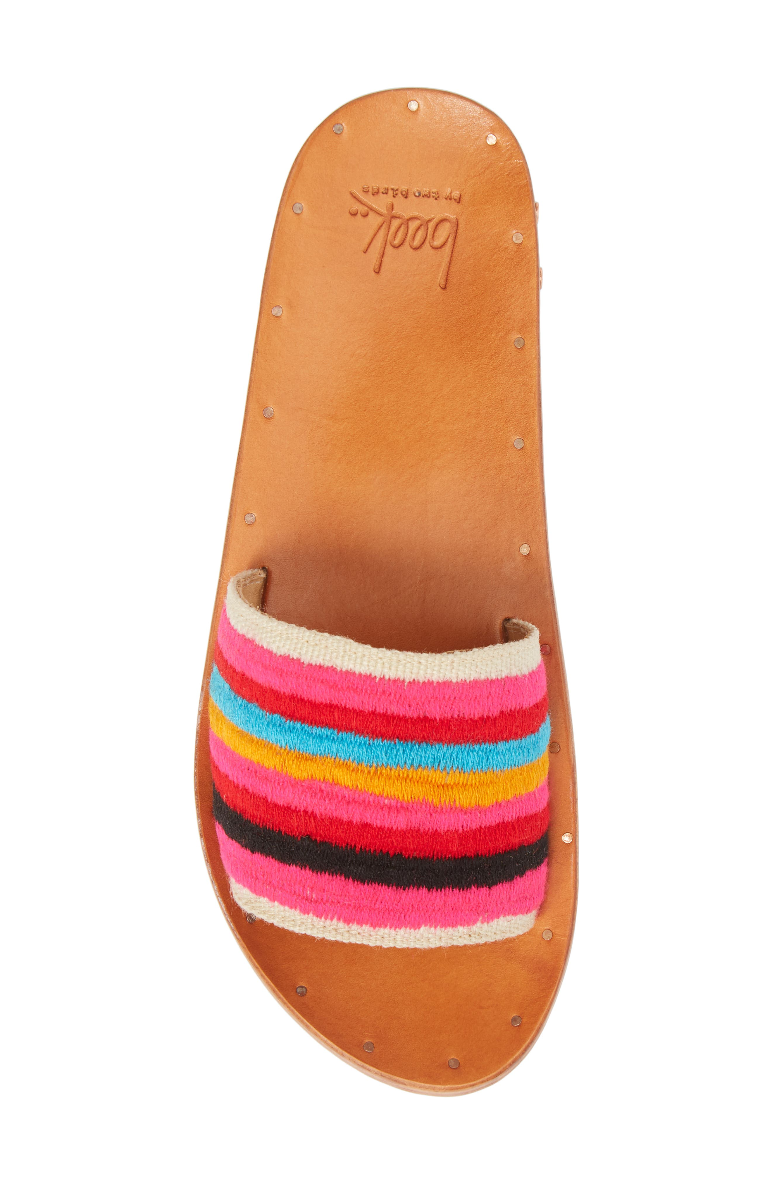 Lovebird Embroidered Slide Sandal,                             Alternate thumbnail 5, color,                             Multi/ Tan
