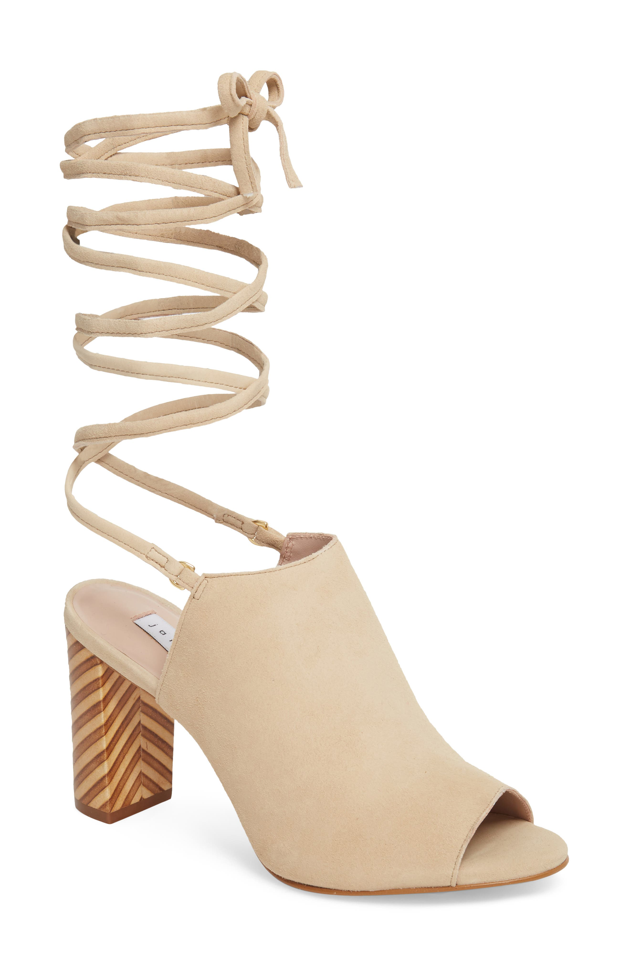 Allegra Ankle Wrap Sandal,                         Main,                         color, Sand Suede