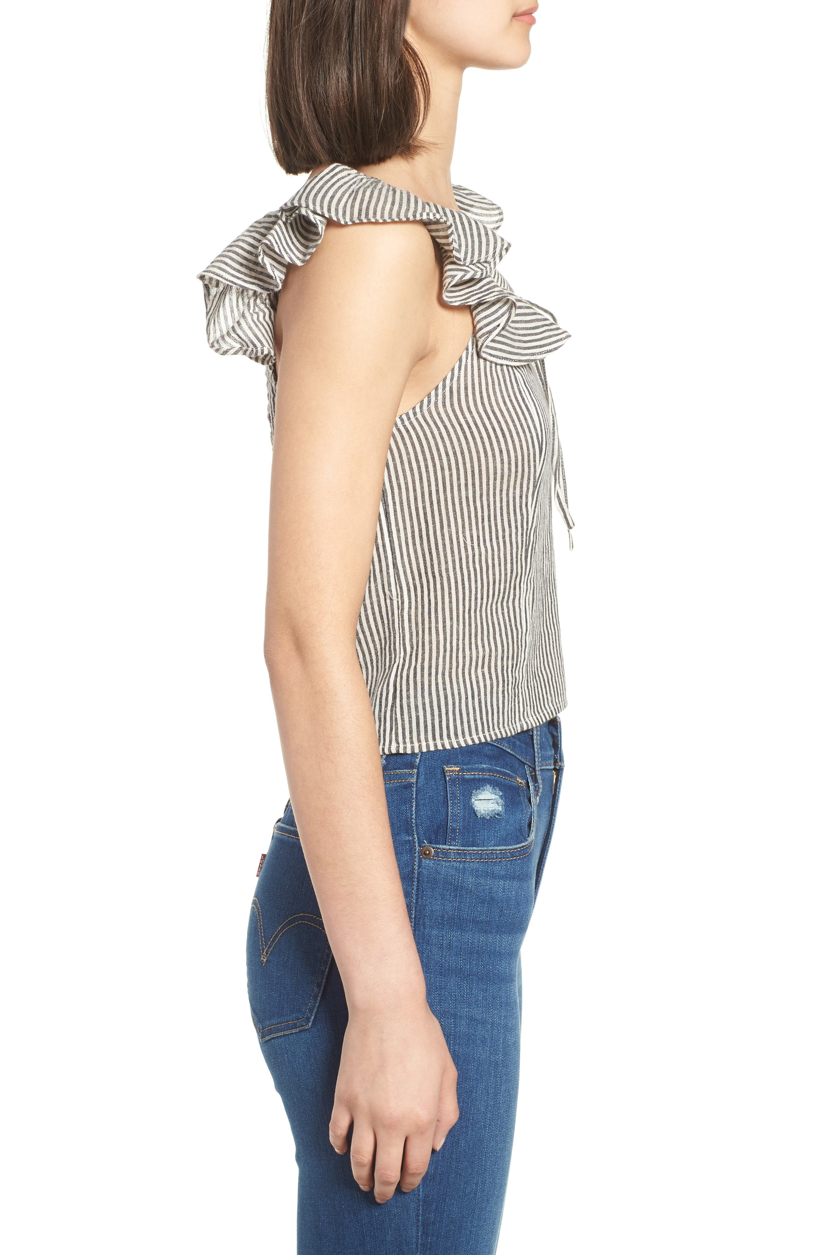 Ruffle Neck Top,                             Alternate thumbnail 3, color,                             Ivory Egret Victoria Stripe